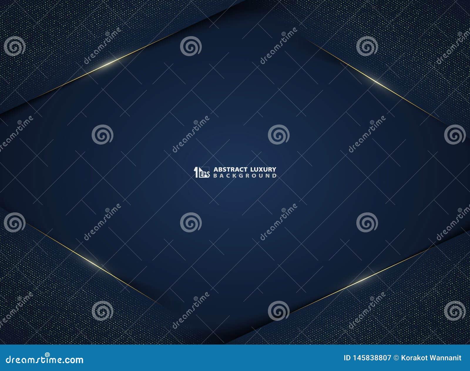 Abstrakcjonistyczny gradientowy zmrok - błękitna luksusowa technologia z złotem połyskuje szablonu tło Ilustracyjny wektor eps10