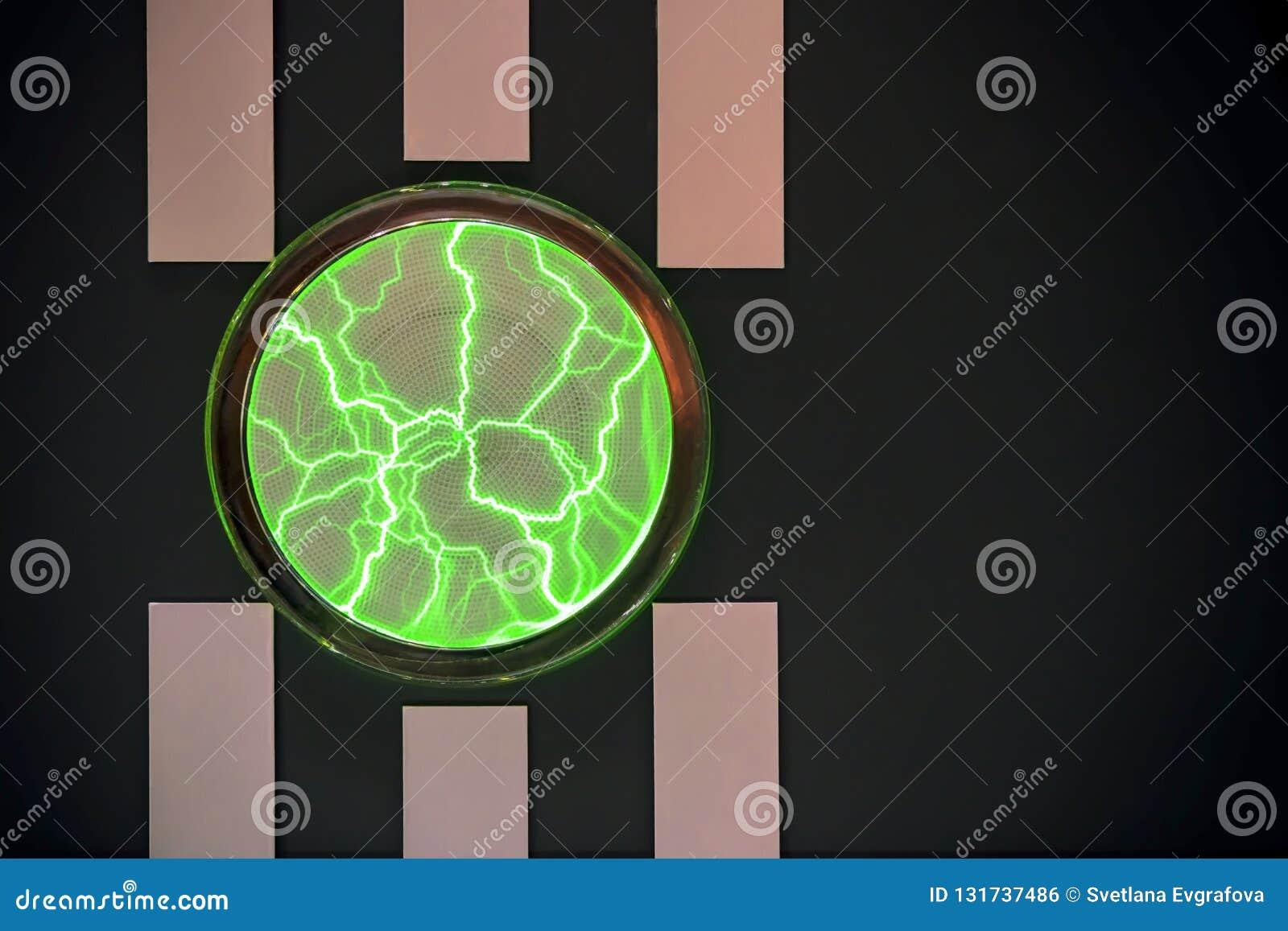 Abstrakcjonistyczny jaskrawy horyzontalny graficzny czarny tło z pionowo lampasami i okrąg jarzy się w postaci magicznego osocza