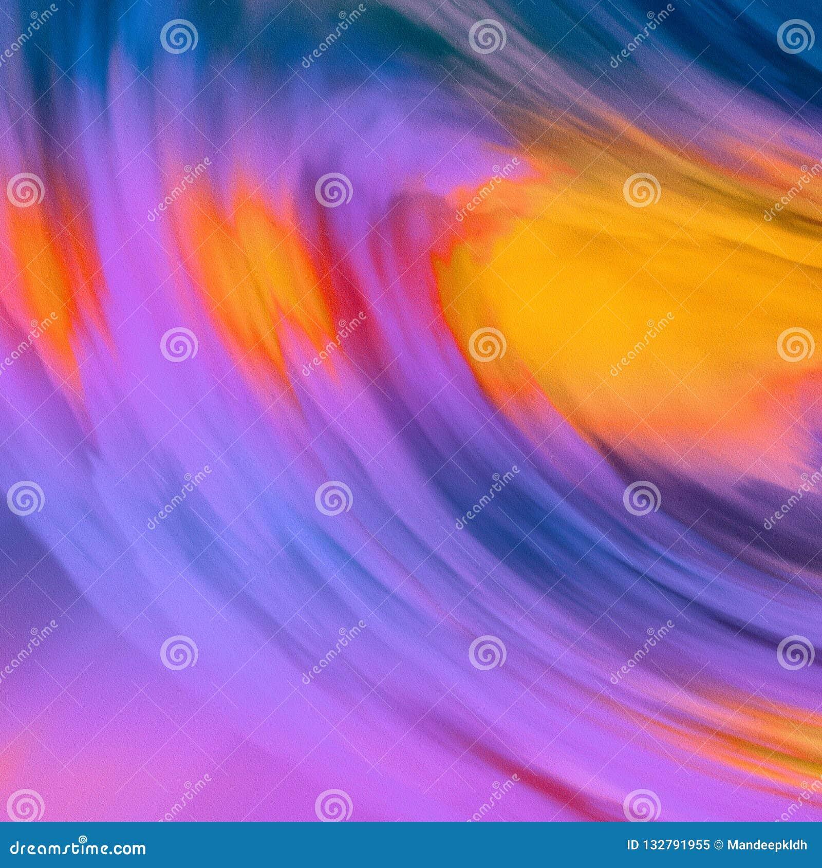 Abstrakcjonistyczny Kolorowy falisty tematu projekt z purpurami & pomarańczowym brzmieniem Jaskrawa rozjarzona brezentowa farba M