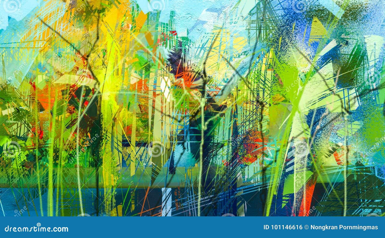 Abstrakcjonistyczny kolorowy obraz olejny na brezentowej teksturze