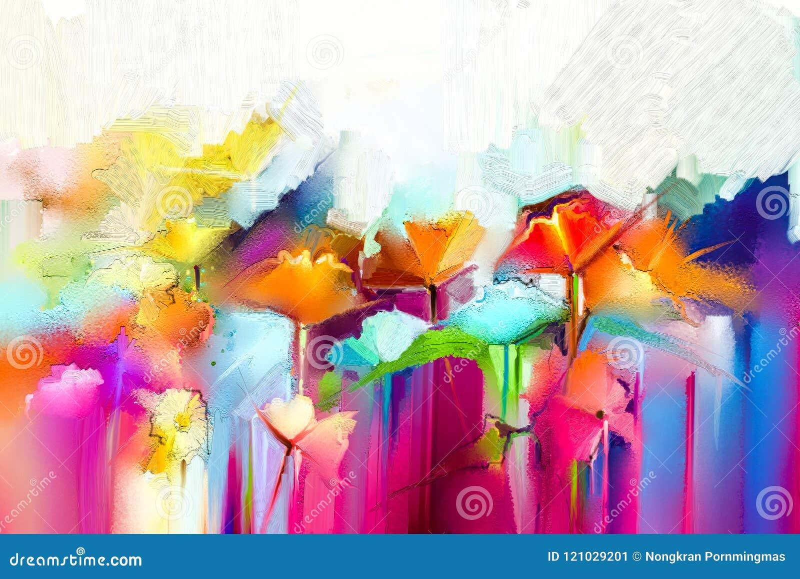 Abstrakcjonistyczny kolorowy obraz olejny na kanwie Semi- abstrakcjonistyczny wizerunek kwiaty, w kolorze żółtym i czerwieni z bł
