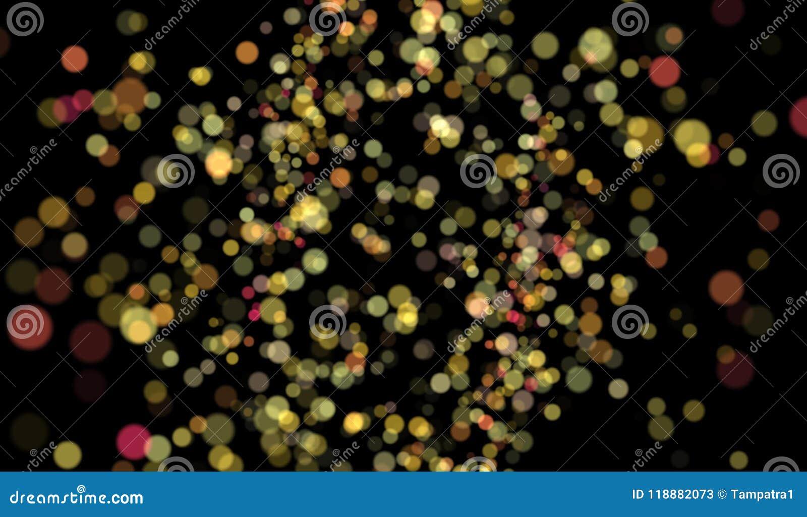 Abstrakcjonistyczny kolorowy rozmyty bokeh na czarnym tle, 3d