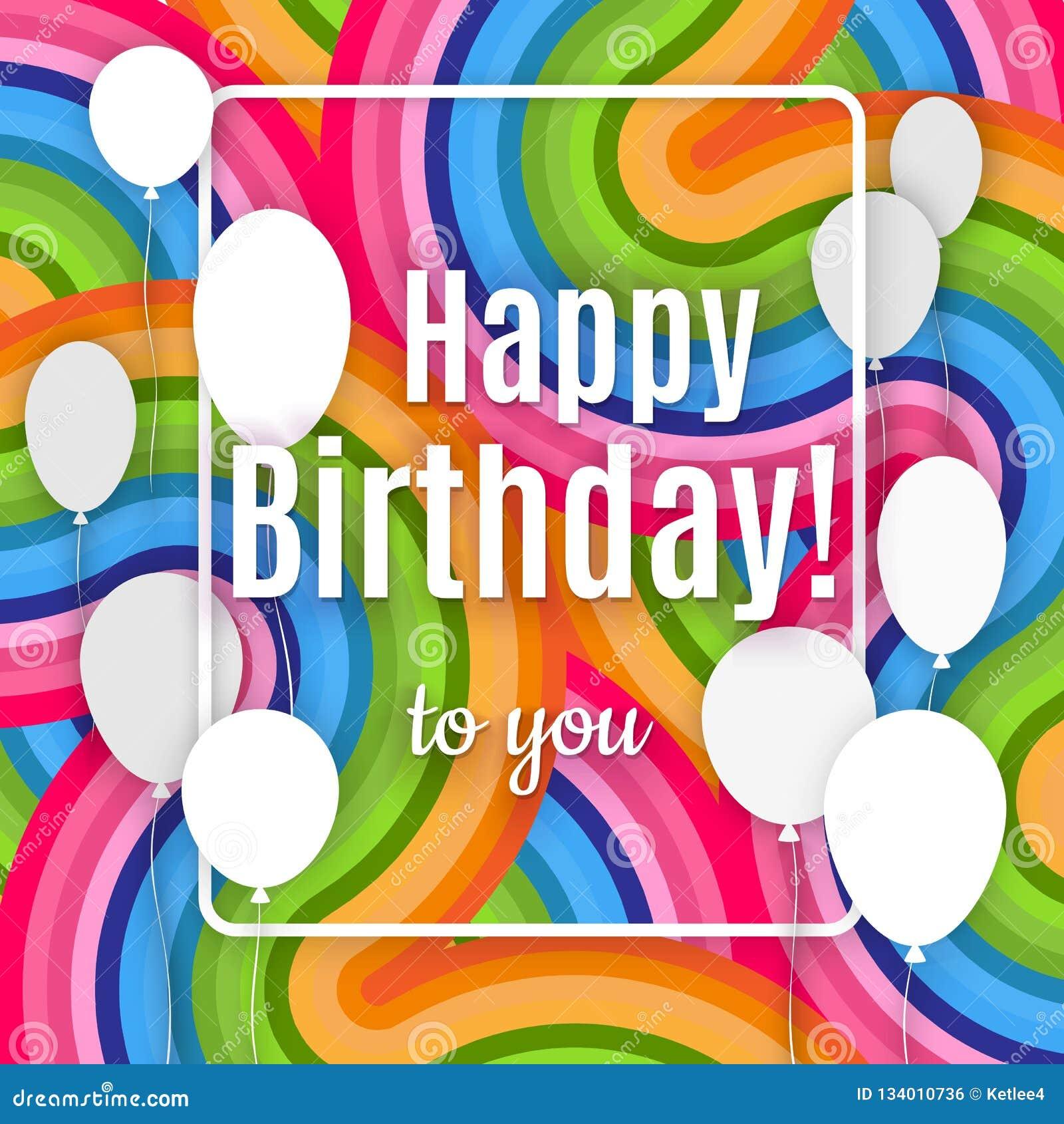 Abstrakcjonistyczny kreatywnie sztandar z bielu teksta i ramy wszystkiego najlepszego z okazji urodzin ty na jaskrawym kolorowym