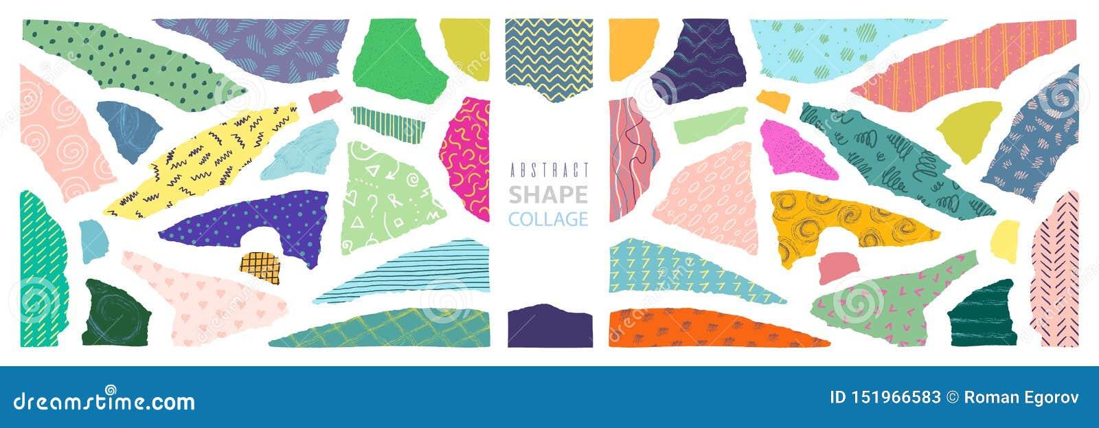 Abstrakcjonistyczny kształta kolaż Nowożytny papieru cięcie składa minimalnego graficznego szablon, niepokój krawędzi dekoracji s