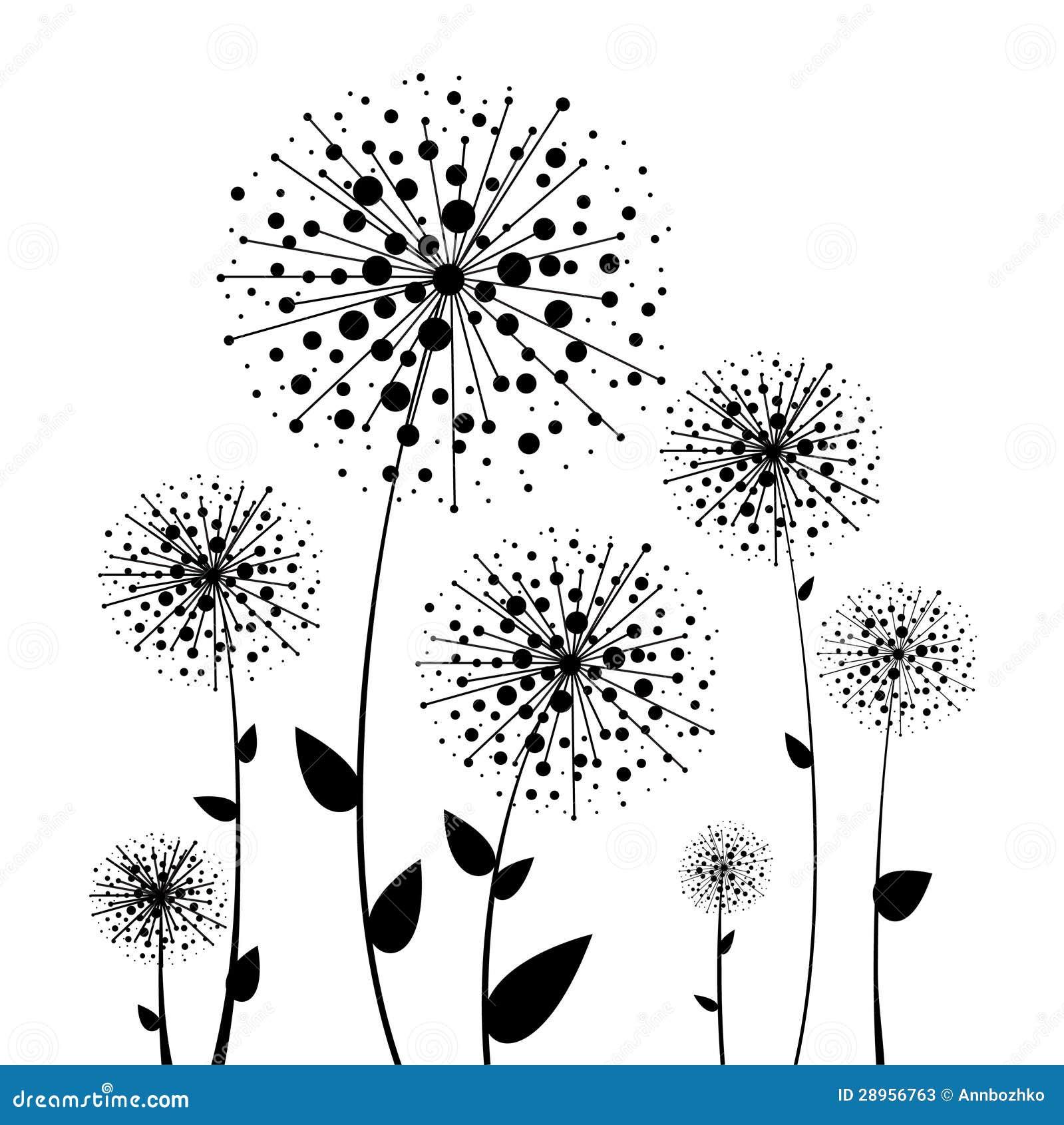Abstrakcjonistyczny kwiatu czerni dandelion