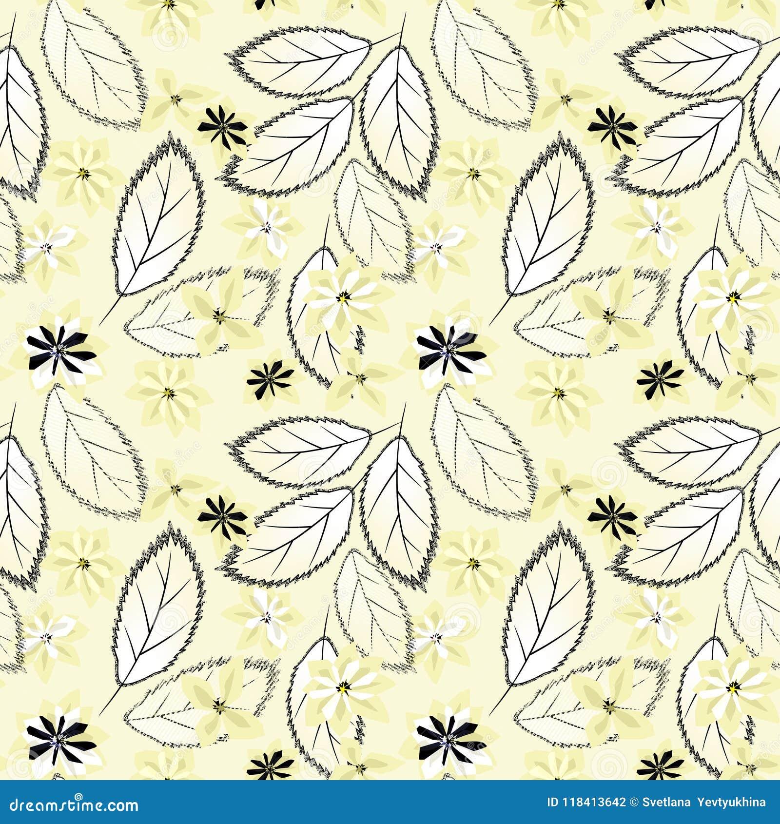 Abstrakcjonistyczny kwiecisty deseniowy bezszwowy Kolorów żółtych kwiaty, liście na lekkim tle
