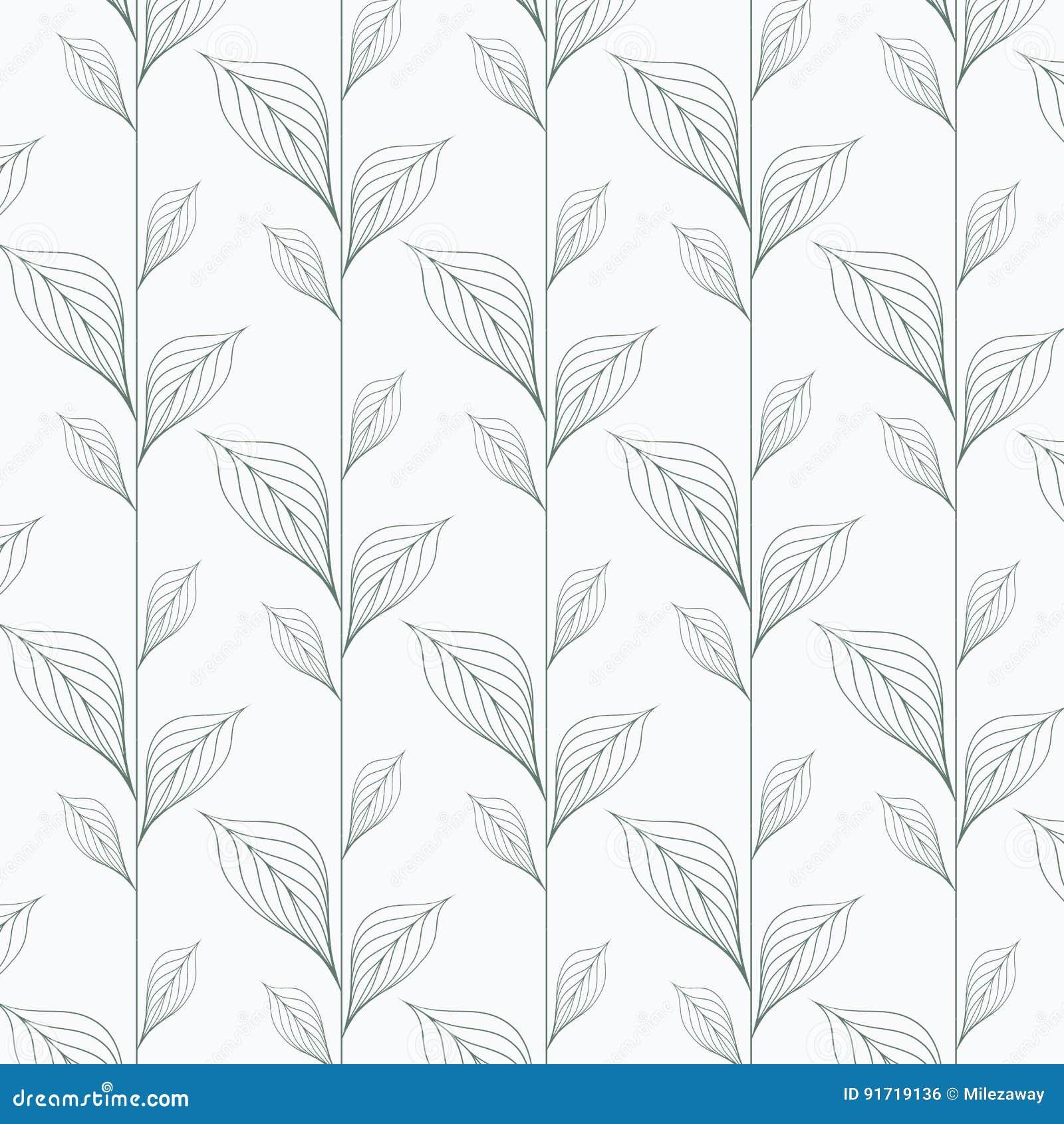 Abstrakcjonistyczny liścia wektoru wzór, powtarza liniowych liście, kwiat, zredukowani liście, trawa