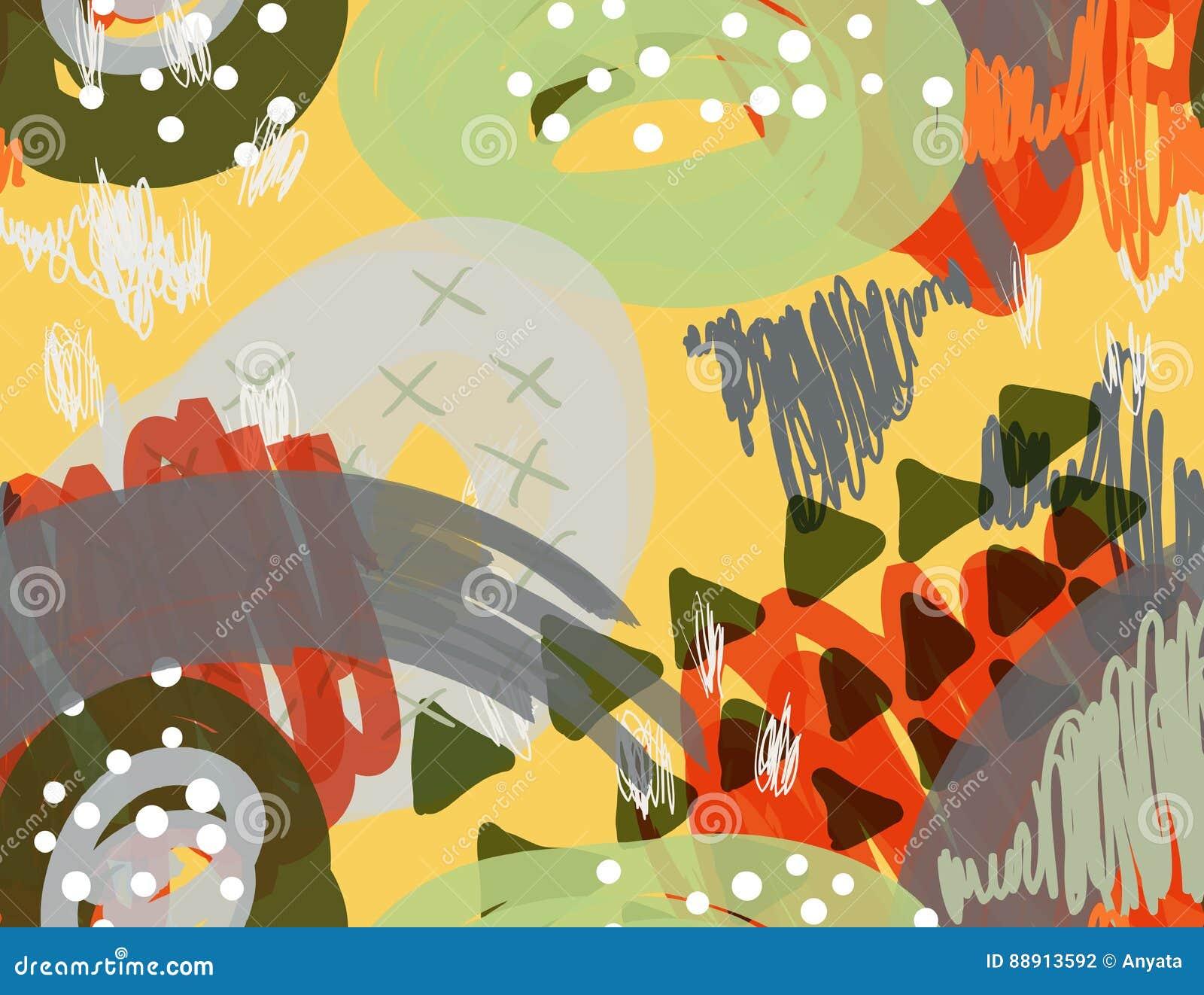 Abstrakcjonistyczny markier gryzmoli kropki i trójboki żółtych