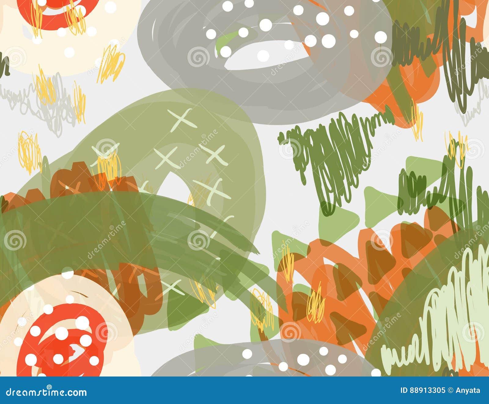 Abstrakcjonistyczny markier gryzmoli kropki i trójboki białych