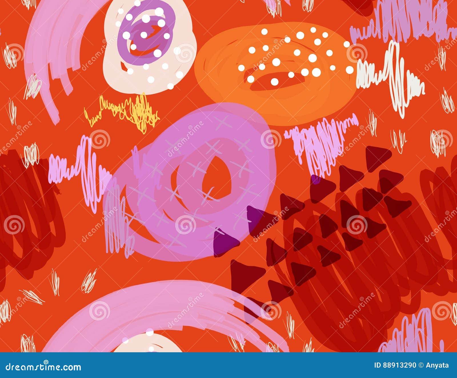 Abstrakcjonistyczny markier gryzmoli kropki i trójboki pomarańczowych