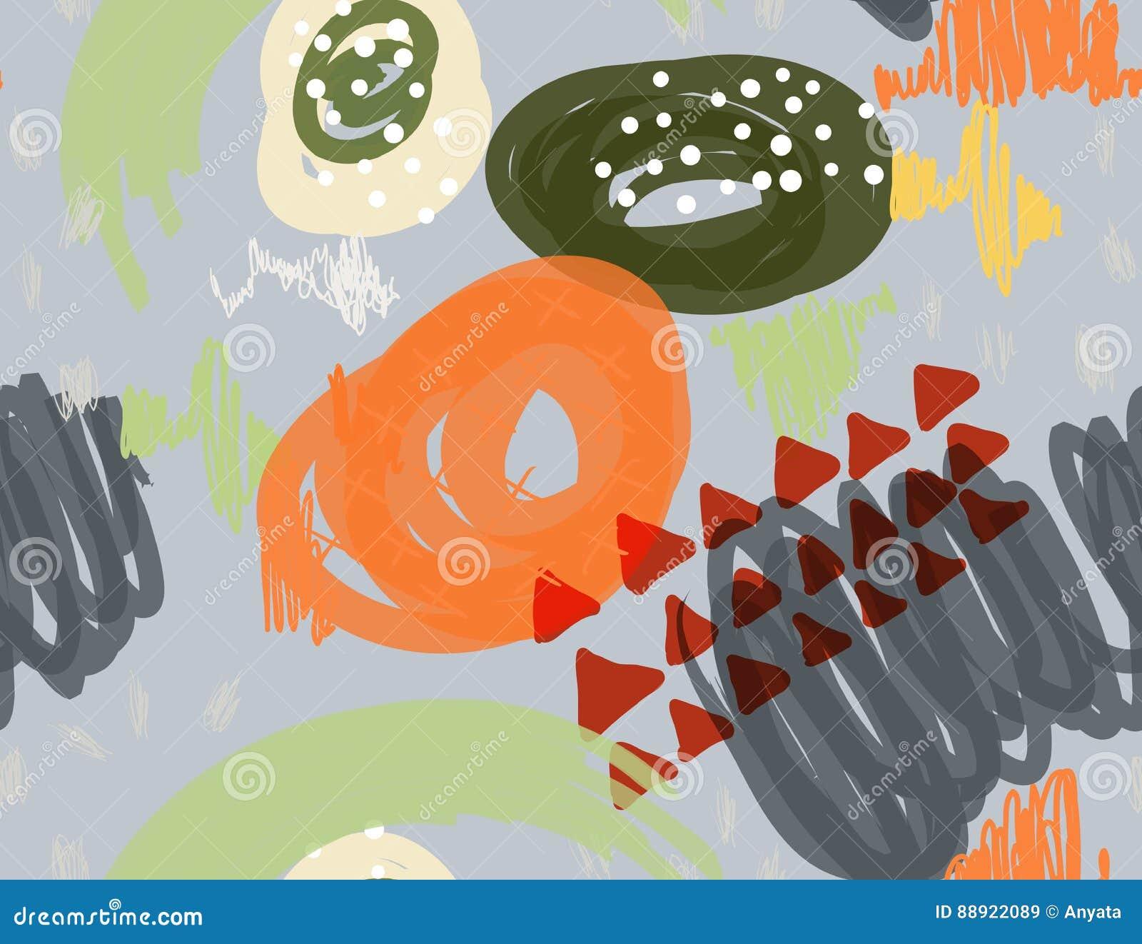 Abstrakcjonistyczny markier gryzmoli kropki i trójboki szarych