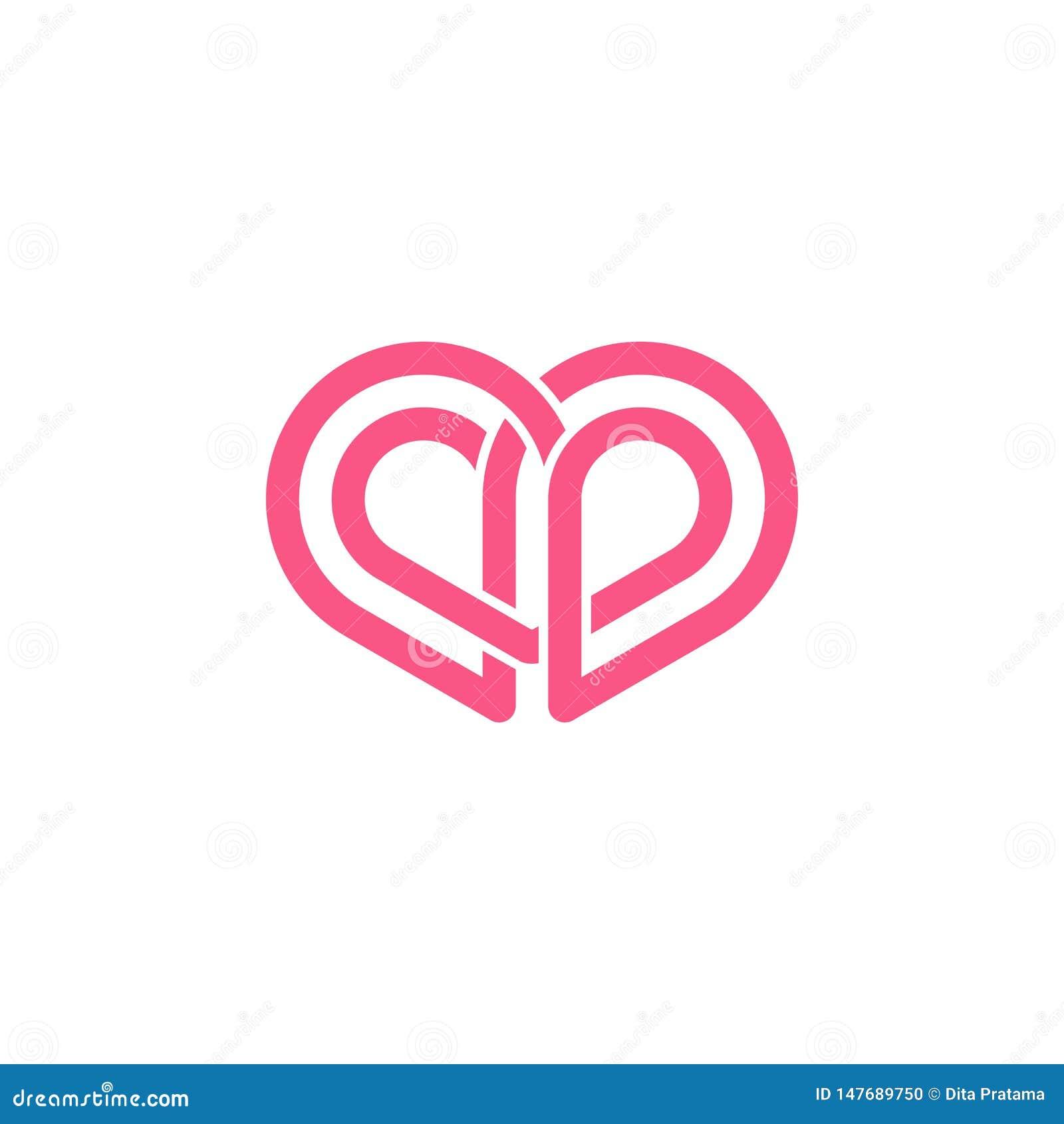 Abstrakcjonistyczny miłość kształta logo