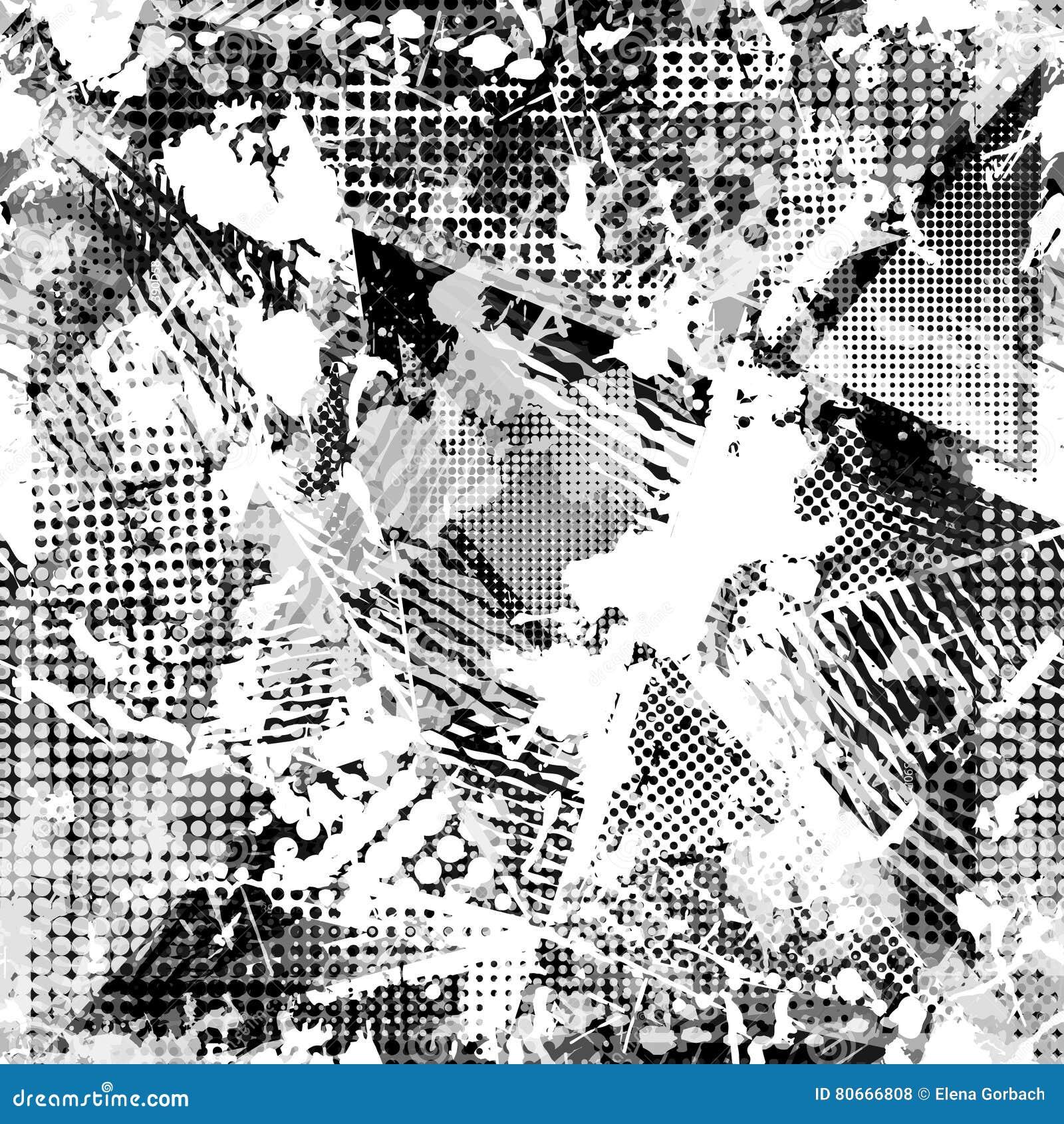 Abstrakcjonistyczny miastowy bezszwowy wzór Grunge tekstury tło Scuffed opadowy rozpyla, trójboki, kropki, czarny i biały kiść