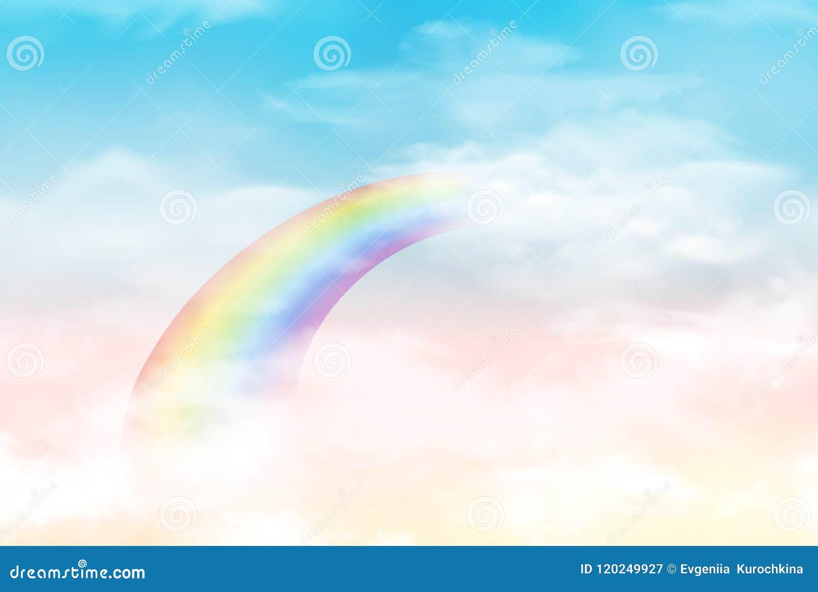 Abstrakcjonistyczny niebo z kolor chmurami Słońca i chmur tło z miękkim pastelowym kolorem Fantazi magiczny krajobrazowy tło