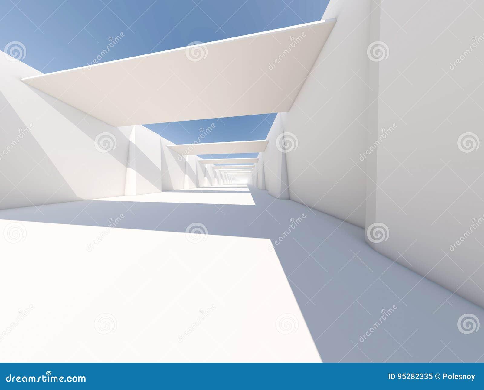 Abstrakcjonistyczny nowożytny architektury tło, pusta biała otwarta przestrzeń
