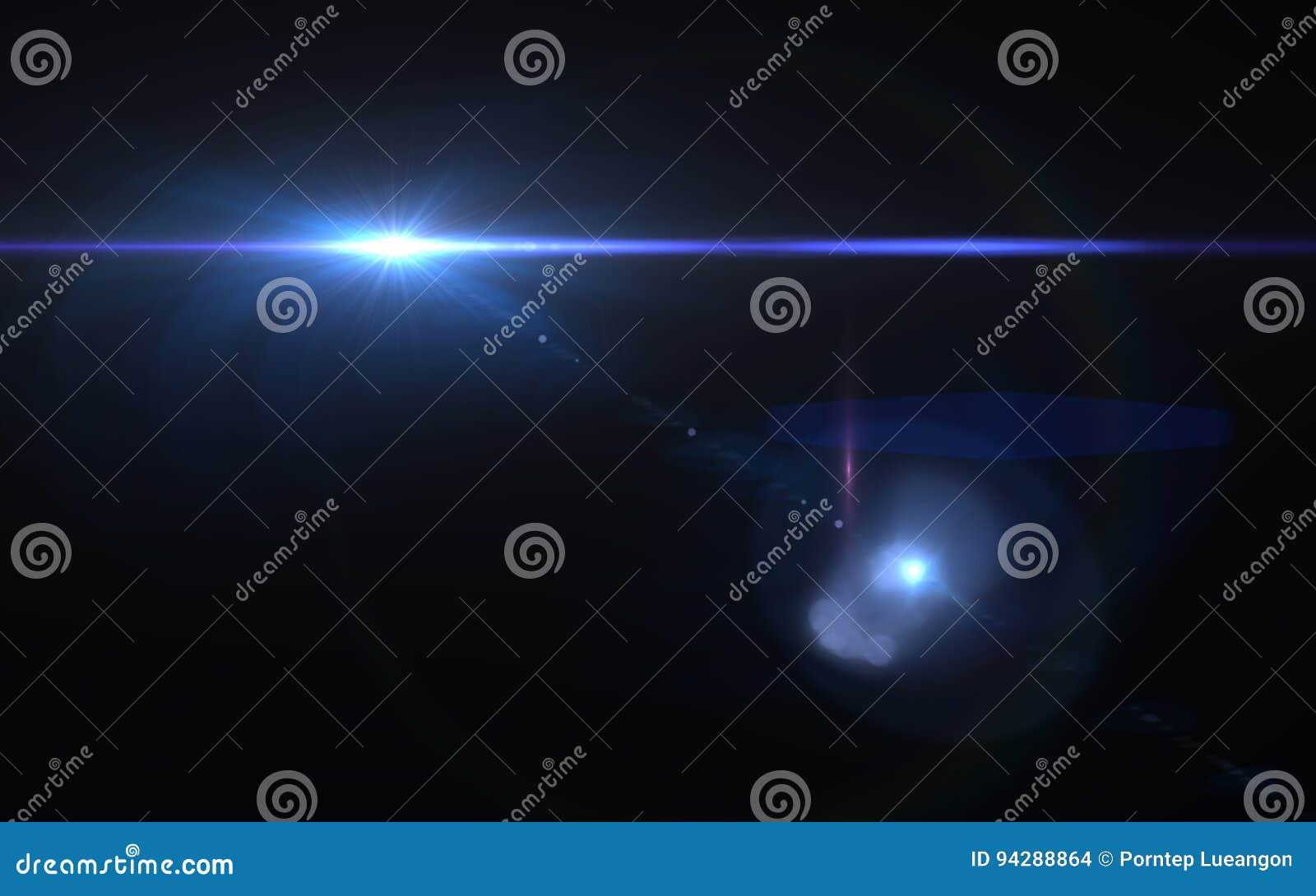 Abstrakcjonistyczny obiektywu racy skutek w przestrzeni z horyzontalnym czarnym backgr
