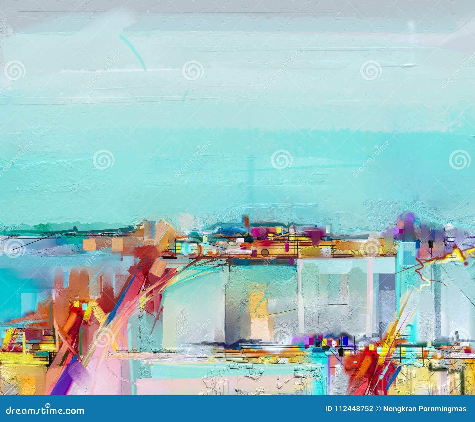 Abstrakcjonistyczny obrazu olejnego krajobraz Obraz olejny plenerowy na kanwie Semi abstrakcjonistyczny drzewo, pole, łąka