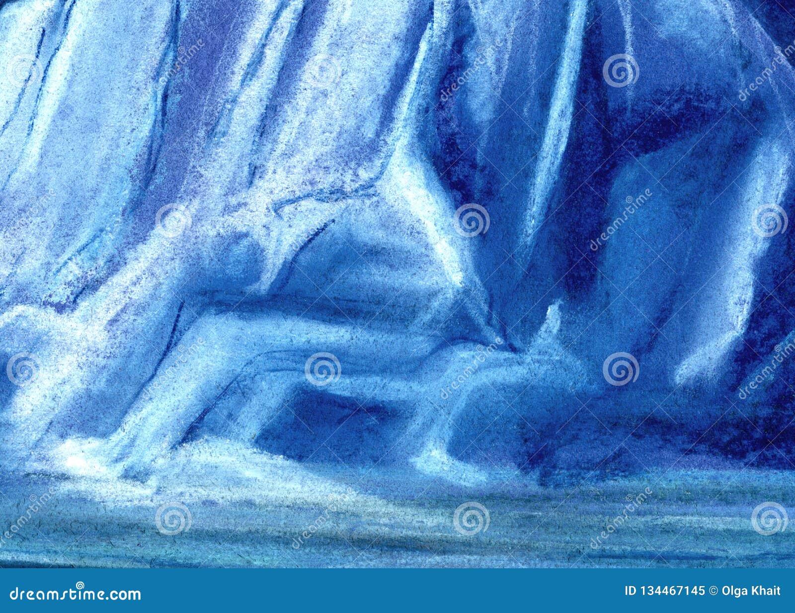 Abstrakcjonistyczny ogromny lodowy tekstury tło Malujący z pastelem na papierowej ilustracji