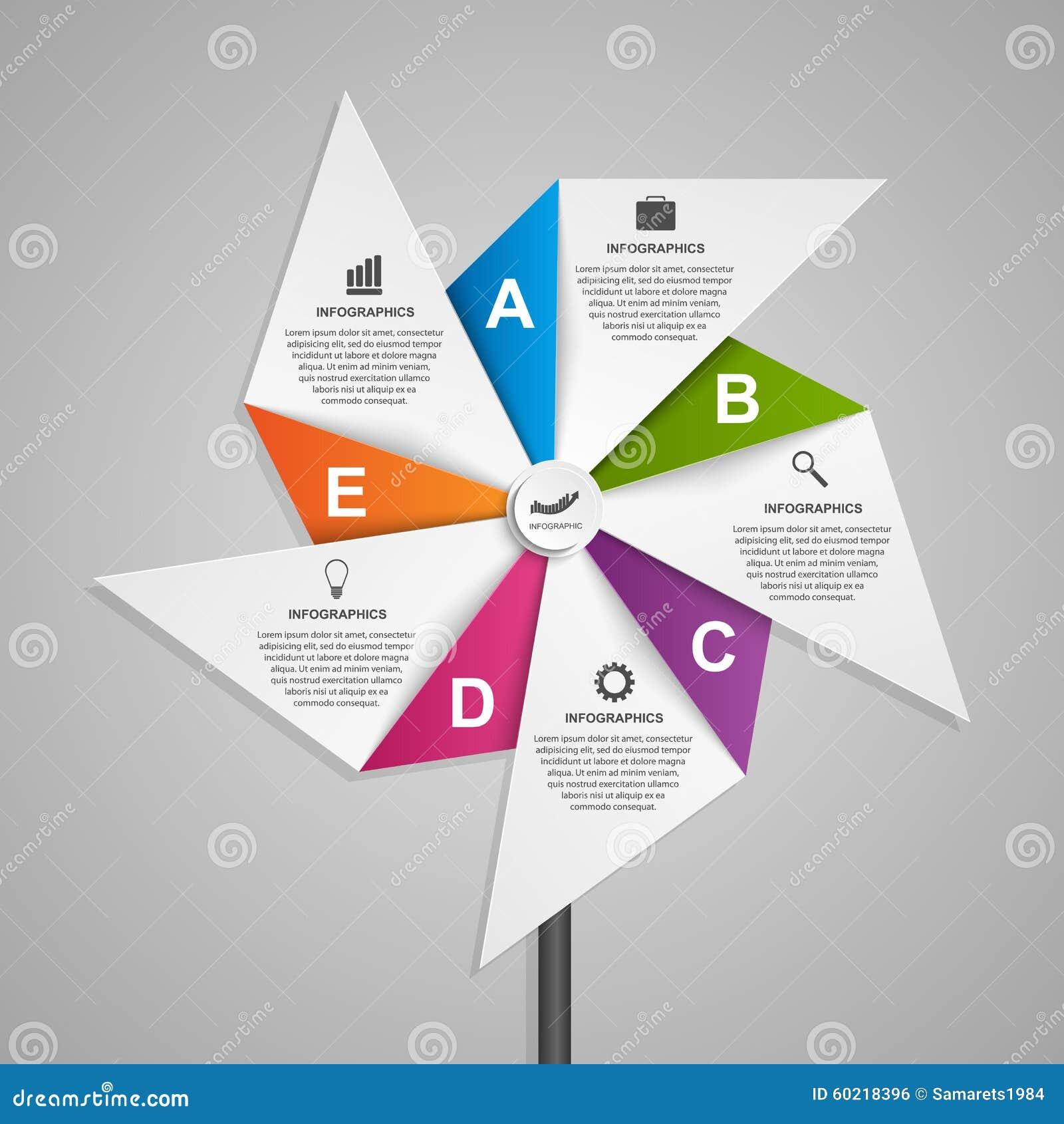 Abstrakcjonistyczny opci infographics projekta szablon w formie lotniczego pinwheel