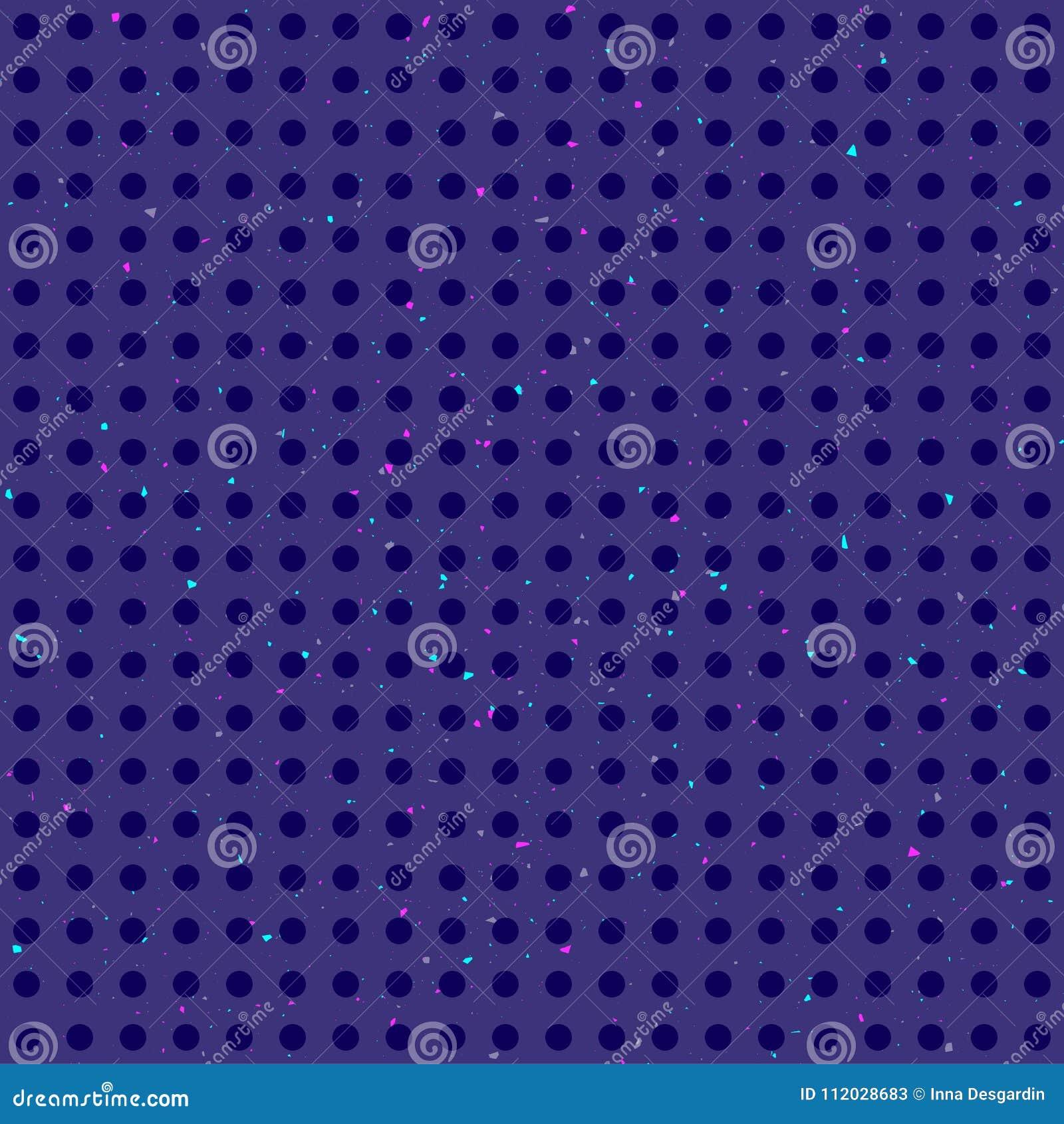 Abstrakcjonistyczny polek kropek kolorowy bezszwowy wzór na zmroku - błękitny grunge tło