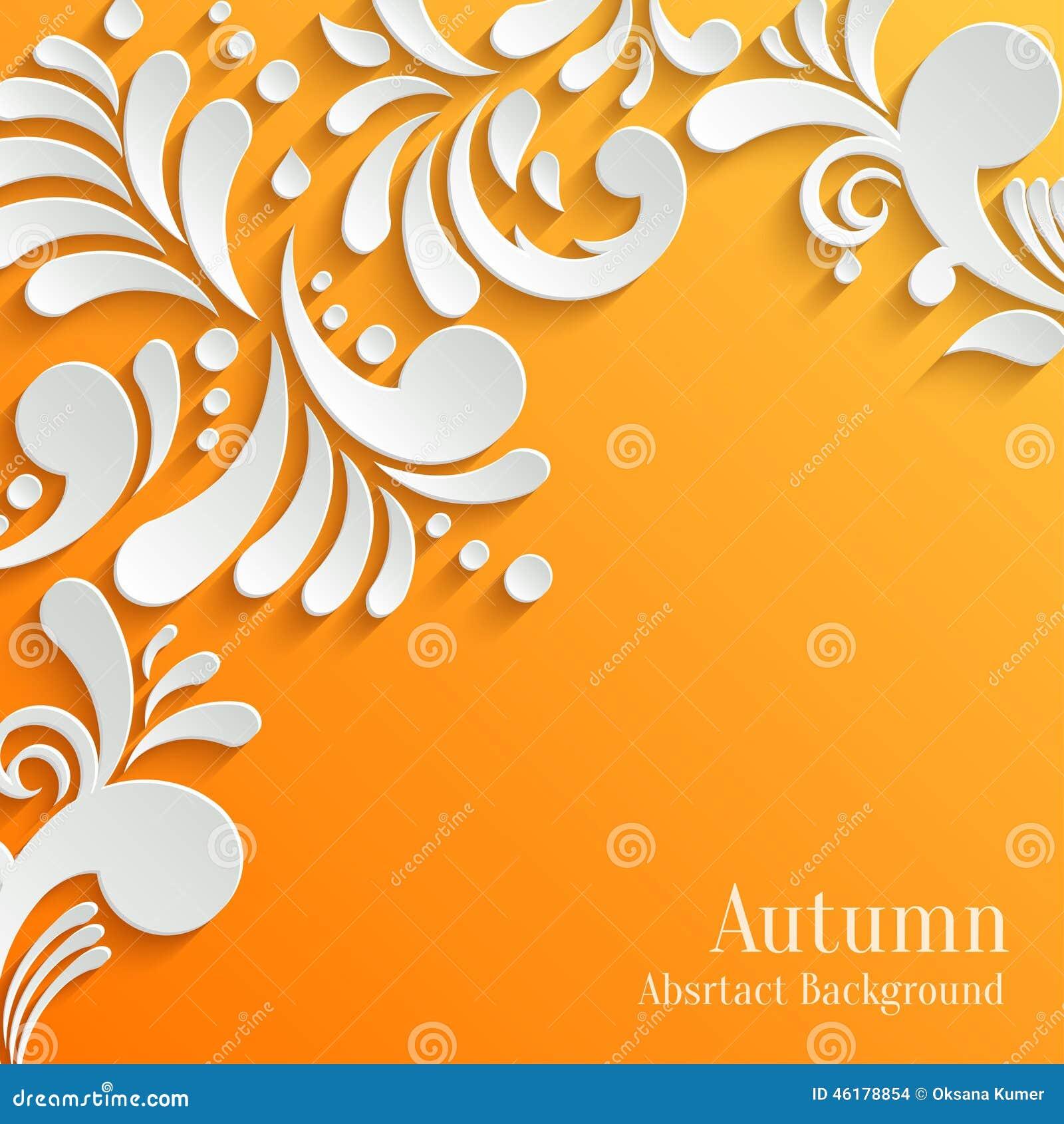 Abstrakcjonistyczny Pomarańczowy tło z 3d Kwiecistym wzorem