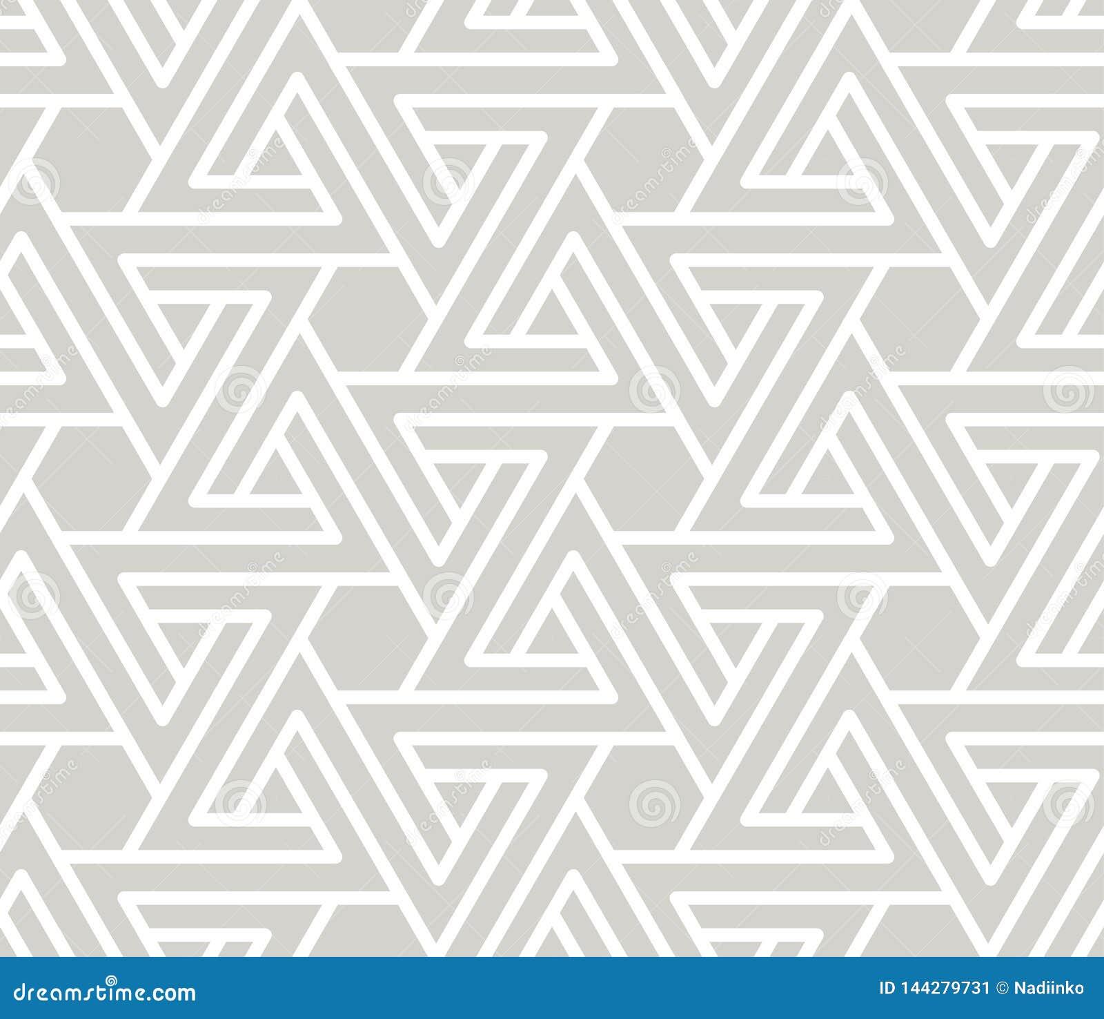Abstrakcjonistyczny prosty geometryczny wektorowy bezszwowy wzór z białej linii teksturą na popielatym tle Światło - szarość nowo