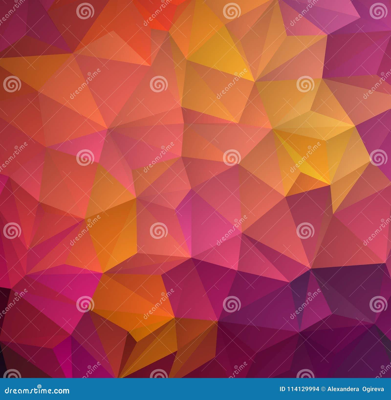 Abstrakcjonistyczny stubarwny wielobok, niski wieloboka tło Przetaczanie kolor wszystko farbuje tęczę geometryczny