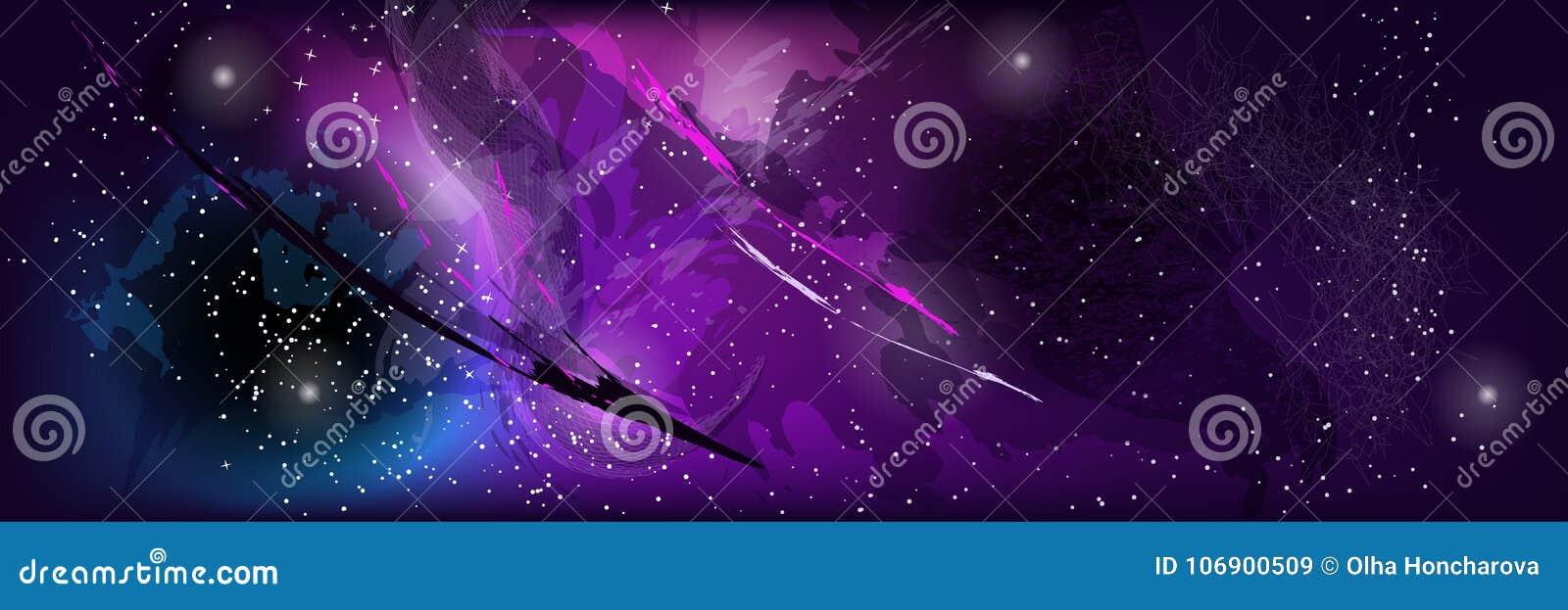 Abstrakcjonistyczny szablon kosmos z gwiazdami, kometami i stubarwnymi punktami,