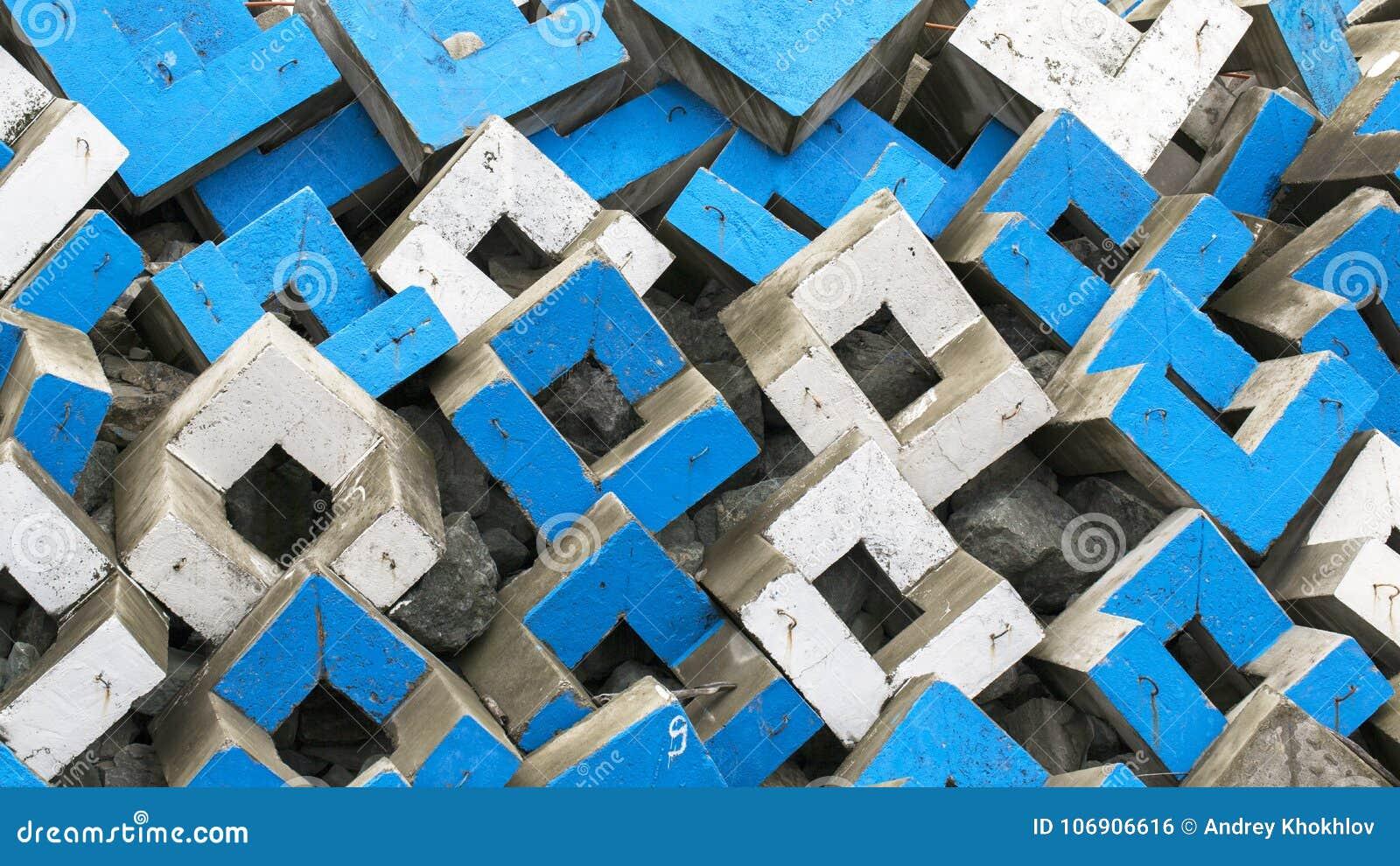 Abstrakcjonistyczny tło betonowi bloki biali i błękitni