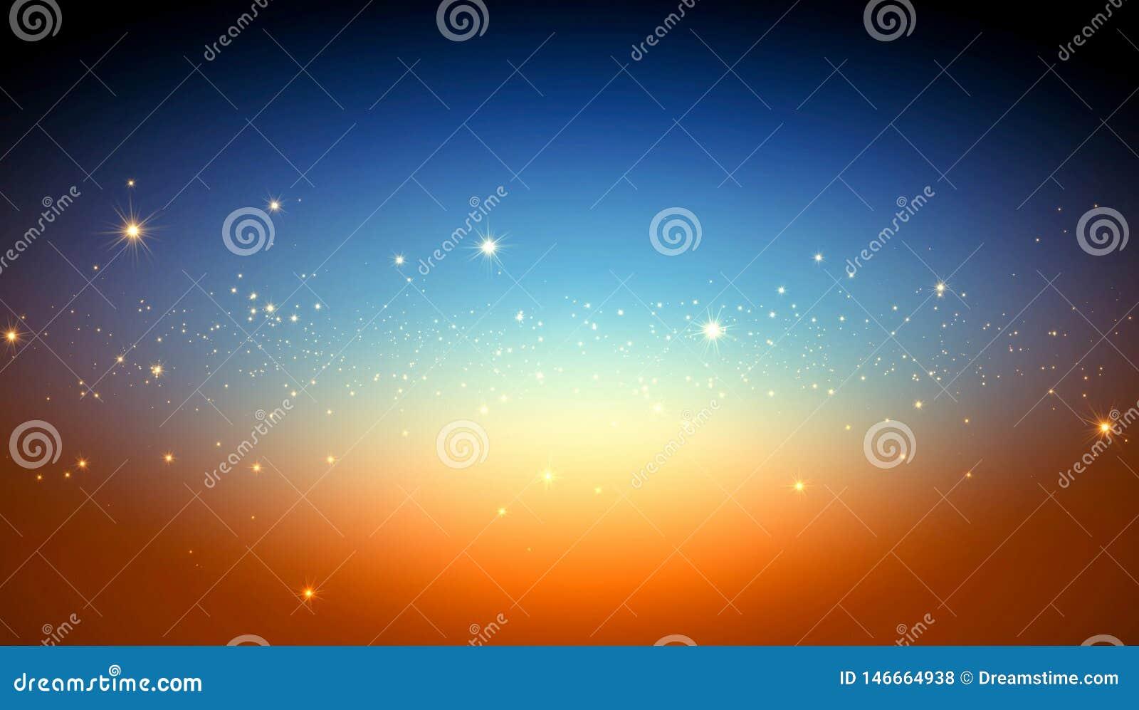 Abstrakcjonistyczny tło, jaskrawe gwiazdy przestrzeń