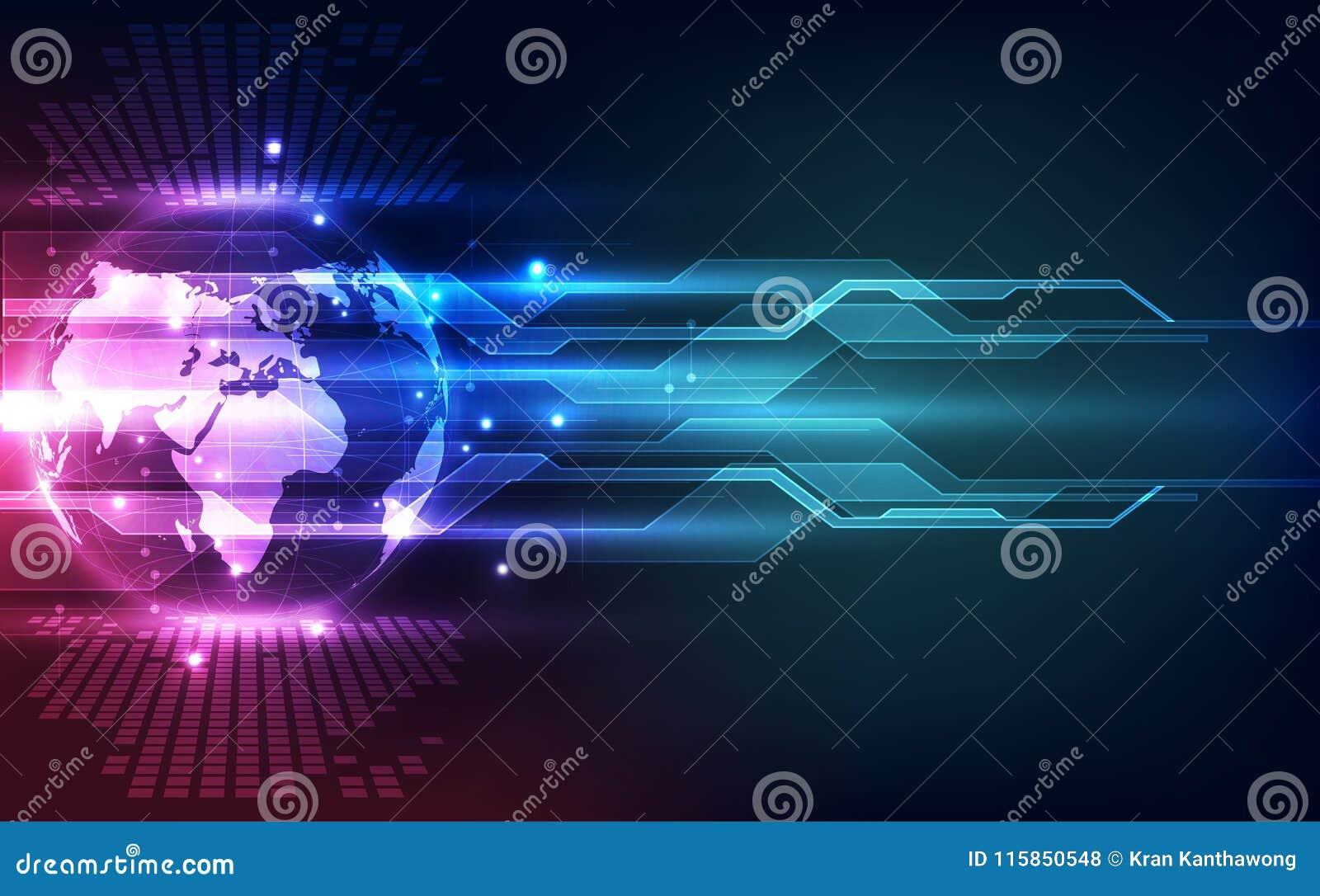 Abstrakcjonistyczny technologia cyfrowa związek na Ziemskim pojęcia tle, wektorowa ilustracja