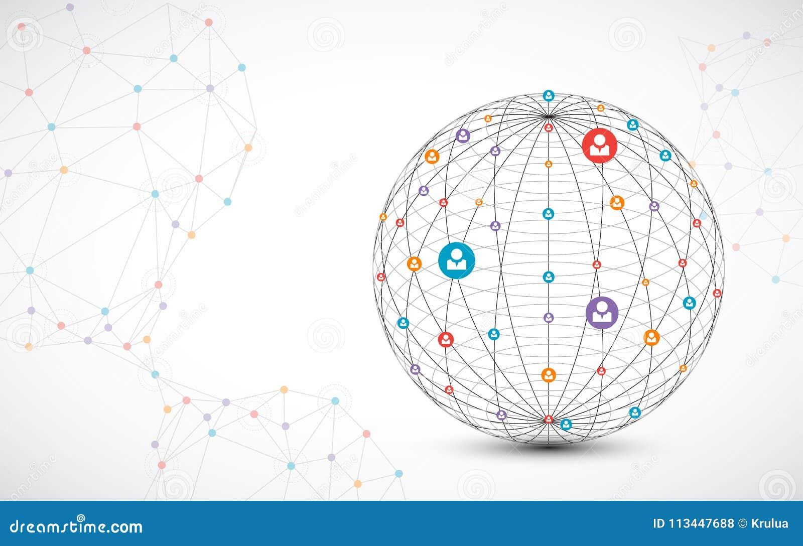 Abstrakcjonistyczny technologii sfery tło Globalnej sieci pojęcie