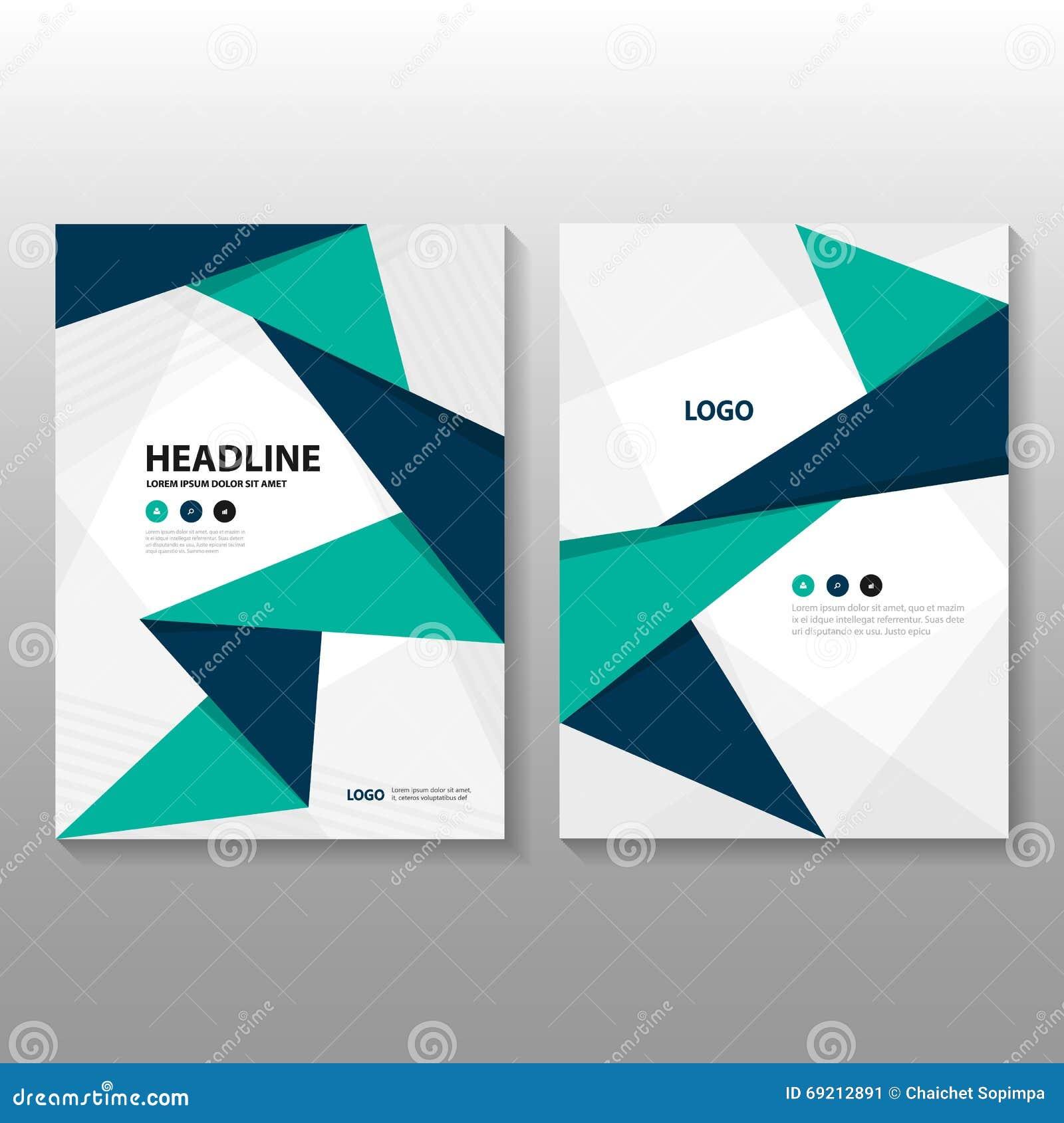 Abstrakcjonistyczny trójbok Błękitnej zieleni wieloboka sprawozdania rocznego ulotki broszurki ulotki szablonu purpurowy projekt,