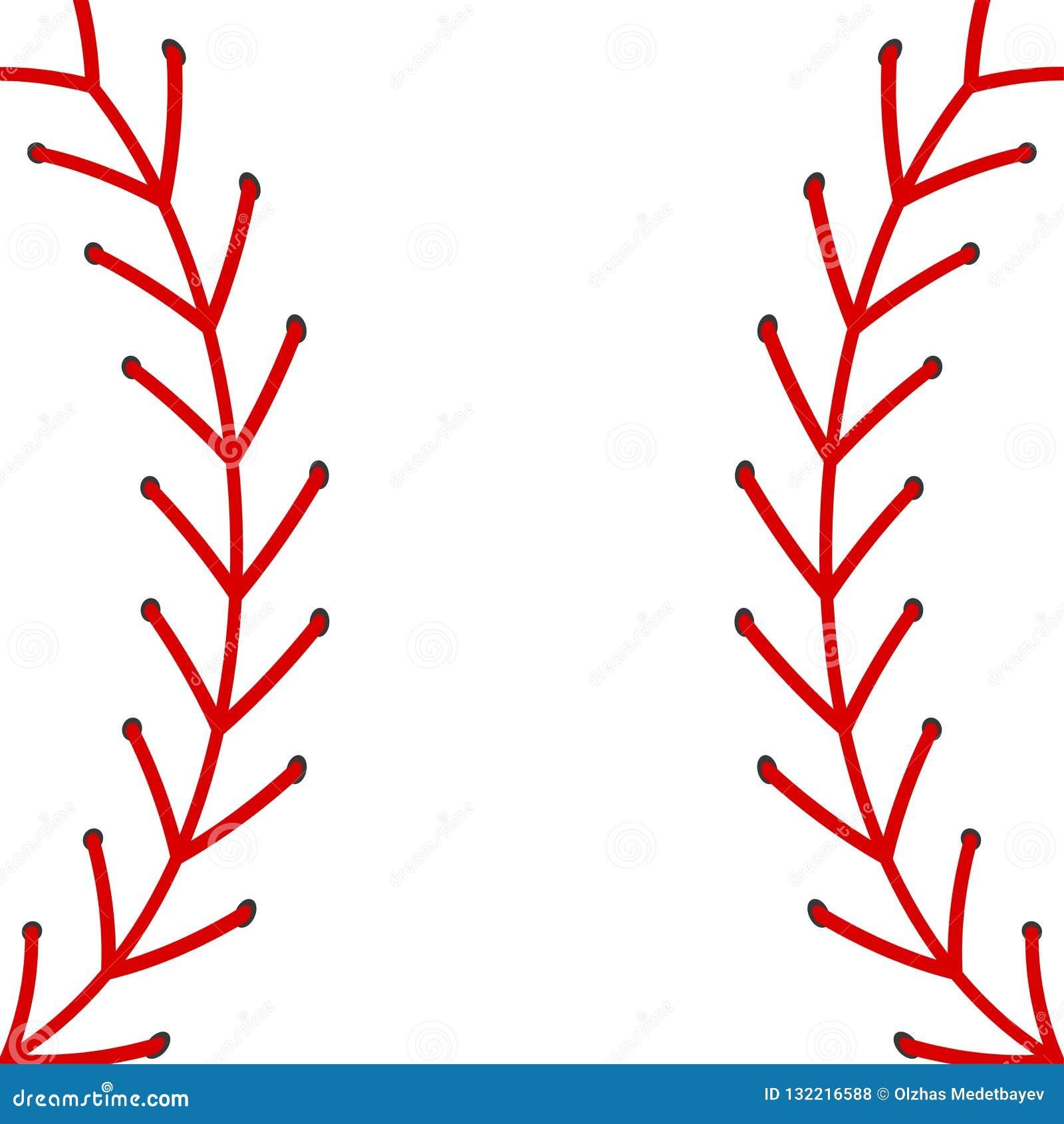 Abstrakcjonistyczny wektorowy baseballa wizerunek z czerwonymi ściegami