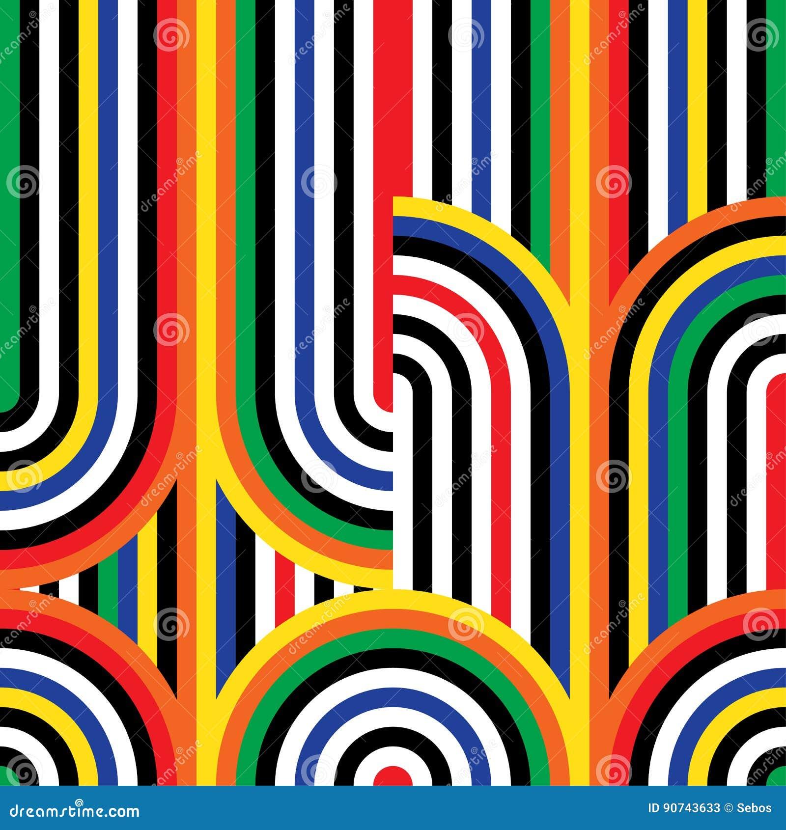 Abstrakcjonistyczny wektorowy bezszwowy op sztuki wzór Kolorowy dyskoteka ornament