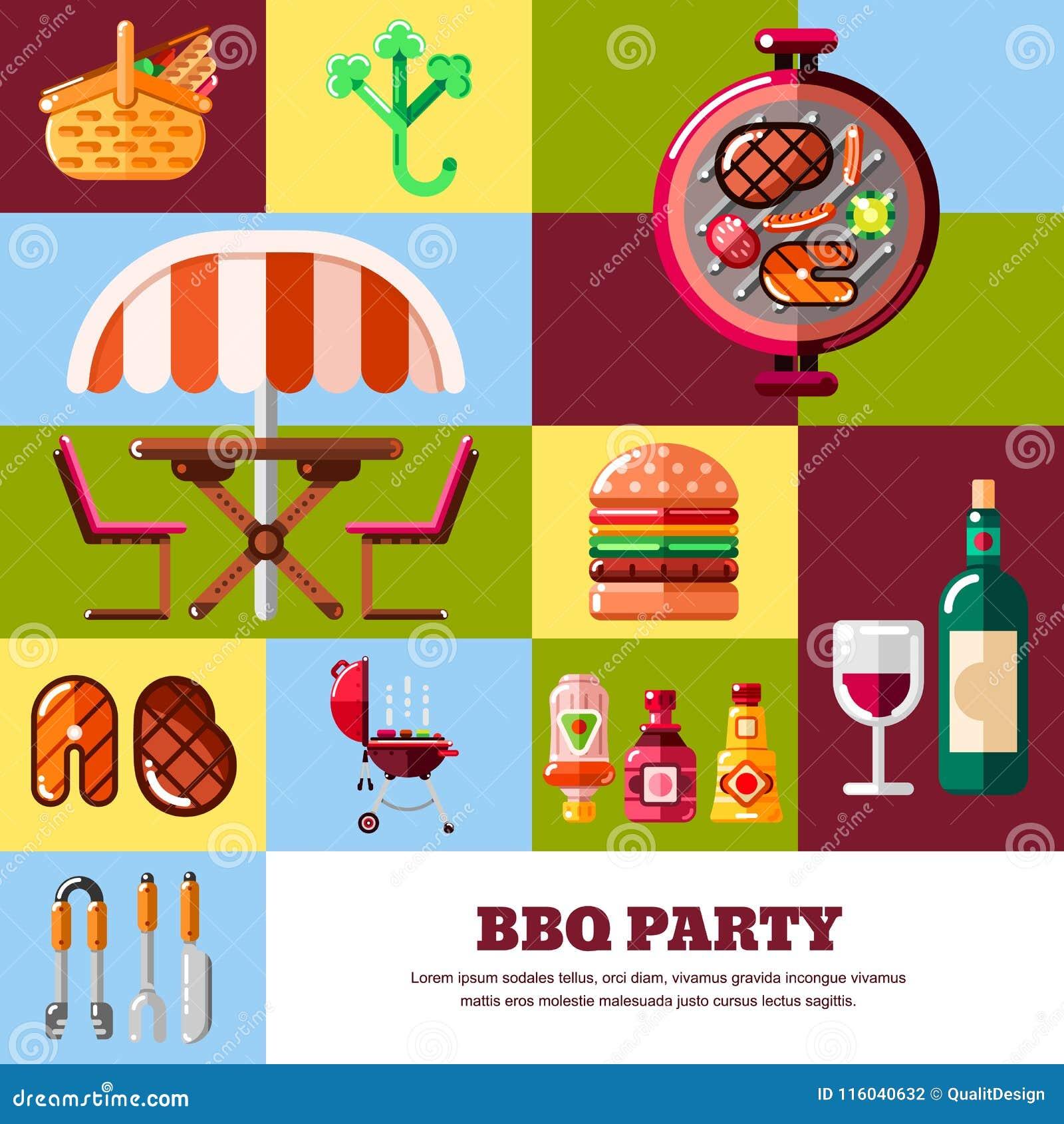 Abstrakcjonistyczny wektorowy plakat lub sztandaru szablon BBQ i grilla ilustracja Grilla jedzenie, wyposażenie i narzędzie ikony