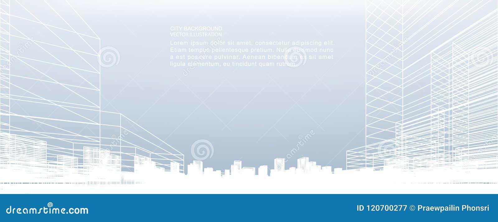 Abstrakcjonistyczny wireframe miasta tło Perspektywa 3d odpłaca się