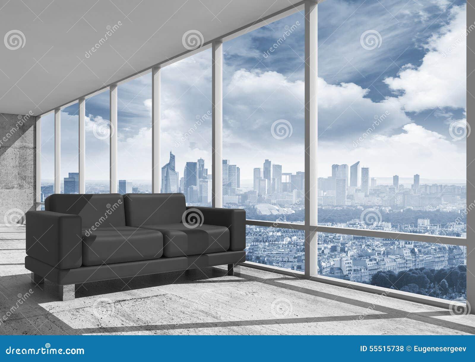 Abstrakcjonistyczny wnętrze, biurowy pokój z betonową podłoga