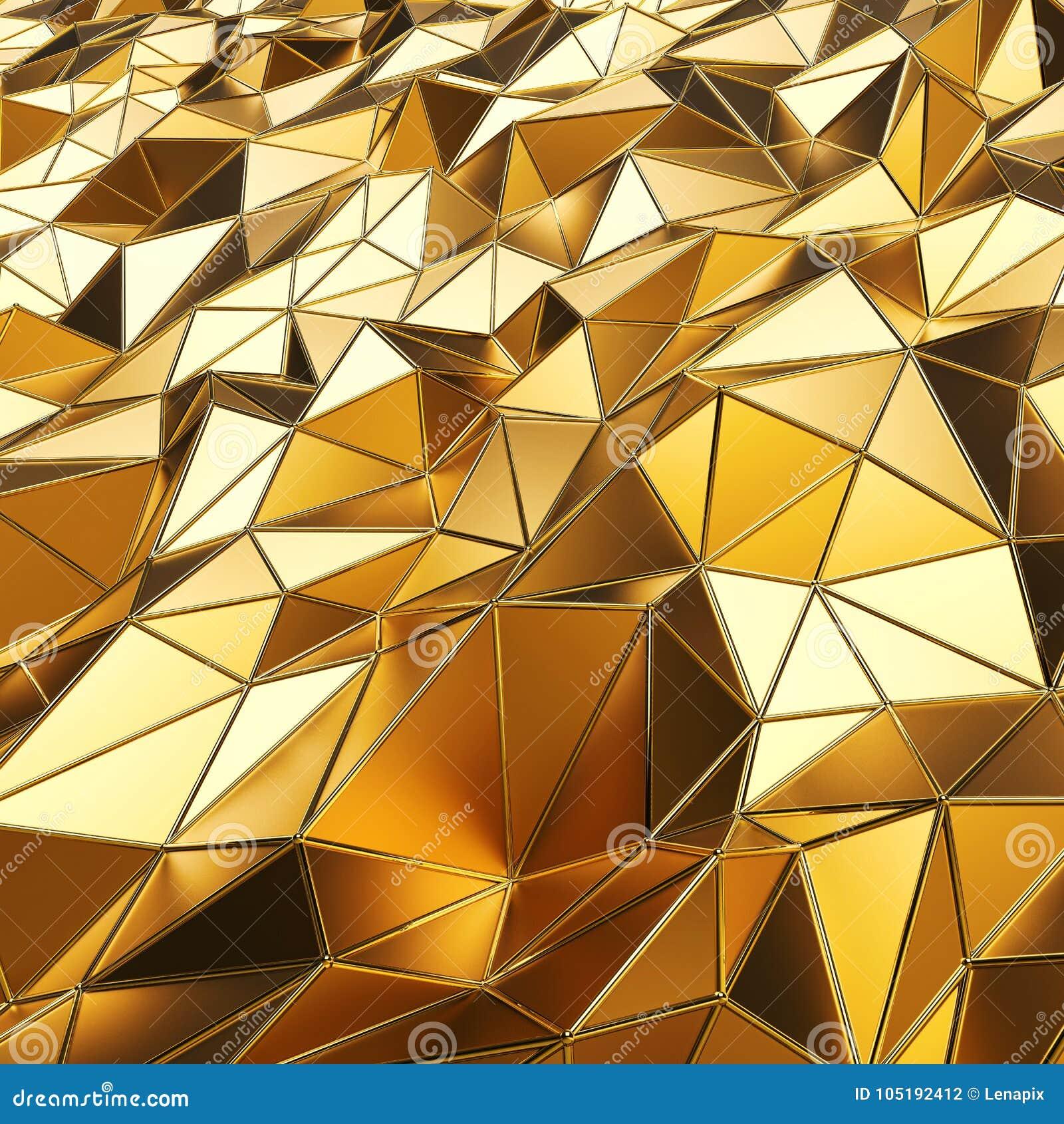 Abstrakcjonistyczny złocisty wieloboków 3D renderingu tło