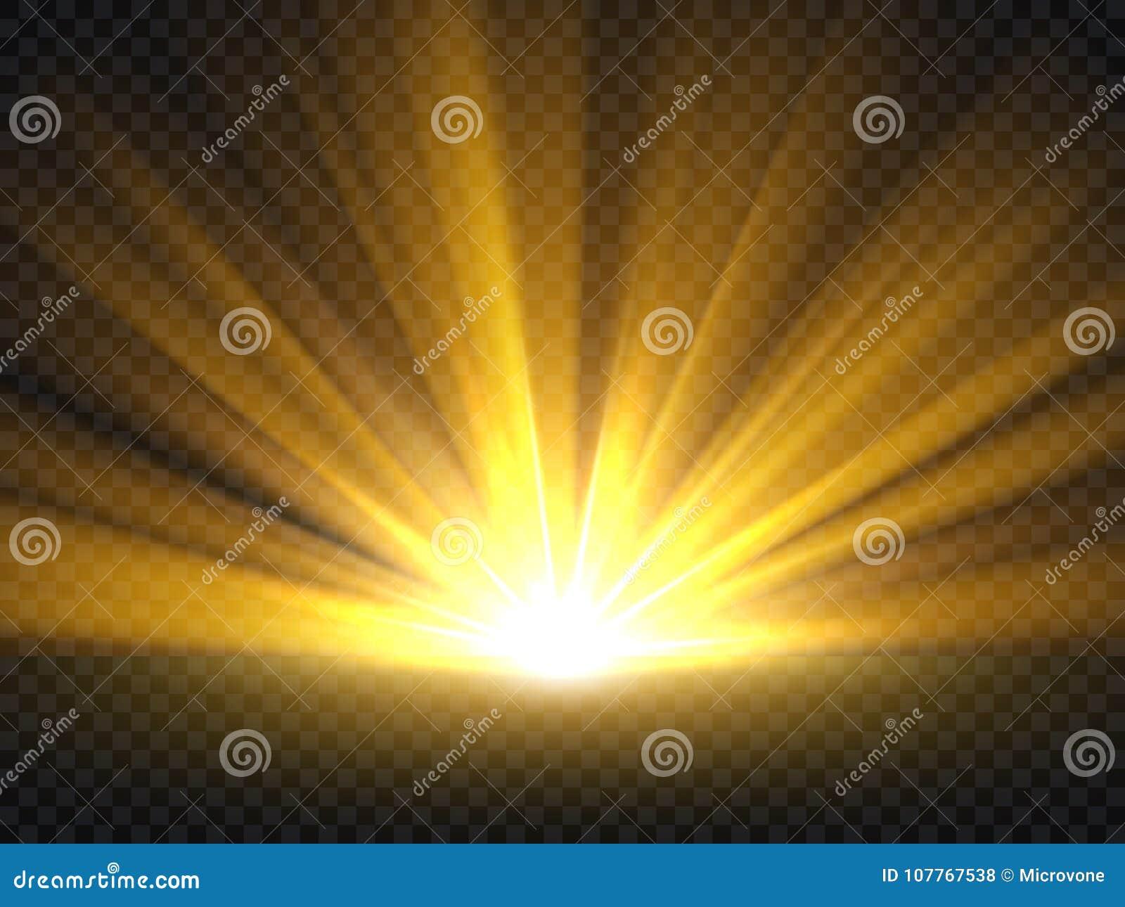 Abstrakcjonistyczny złoty jaskrawy światło Złocista połysku wybuchu wektoru ilustracja