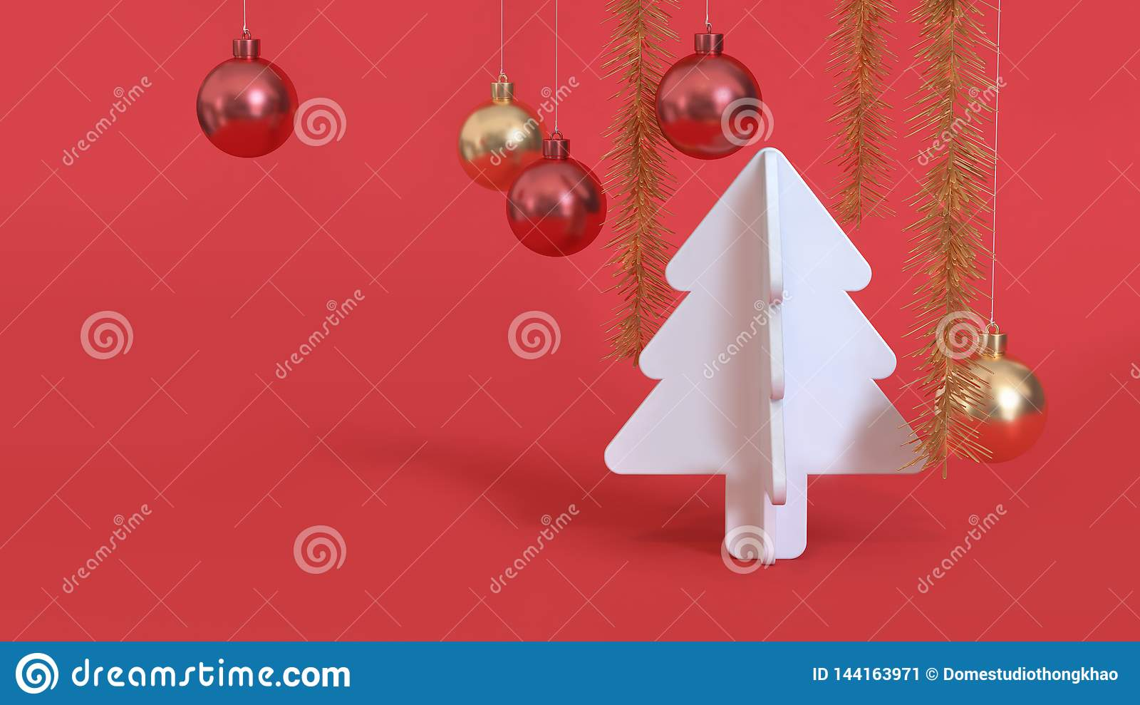 Abstrakcjonistycznych bożego narodzenia tła czerwonych białych bożych narodzeń drzewna kruszcowa czerwona złocista piłka 3d odpła