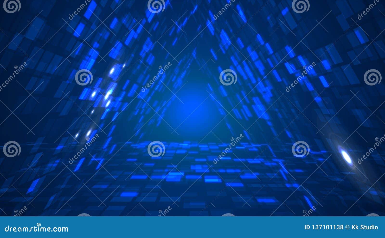 Abstrakcjonistycznych futurystycznych trójboków dane tunelowy perspektywiczny tło