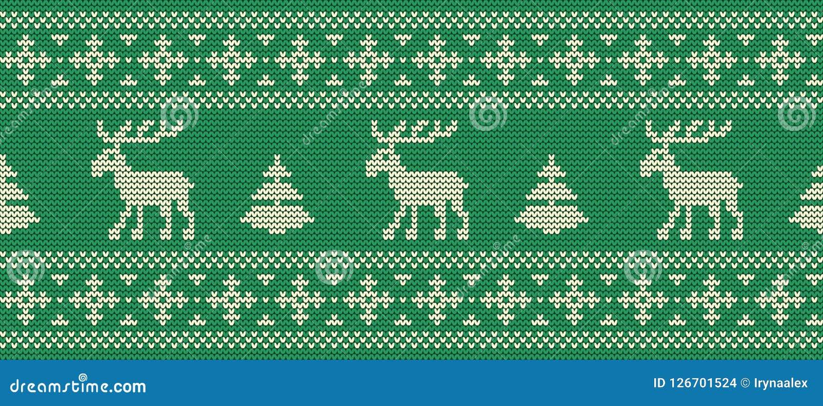 Abstrakcjonistycznych gwiazdkę tła dekoracji projektu ciemnej czerwieni wzoru star white Trykotowy wzór z deers na zielonym tle