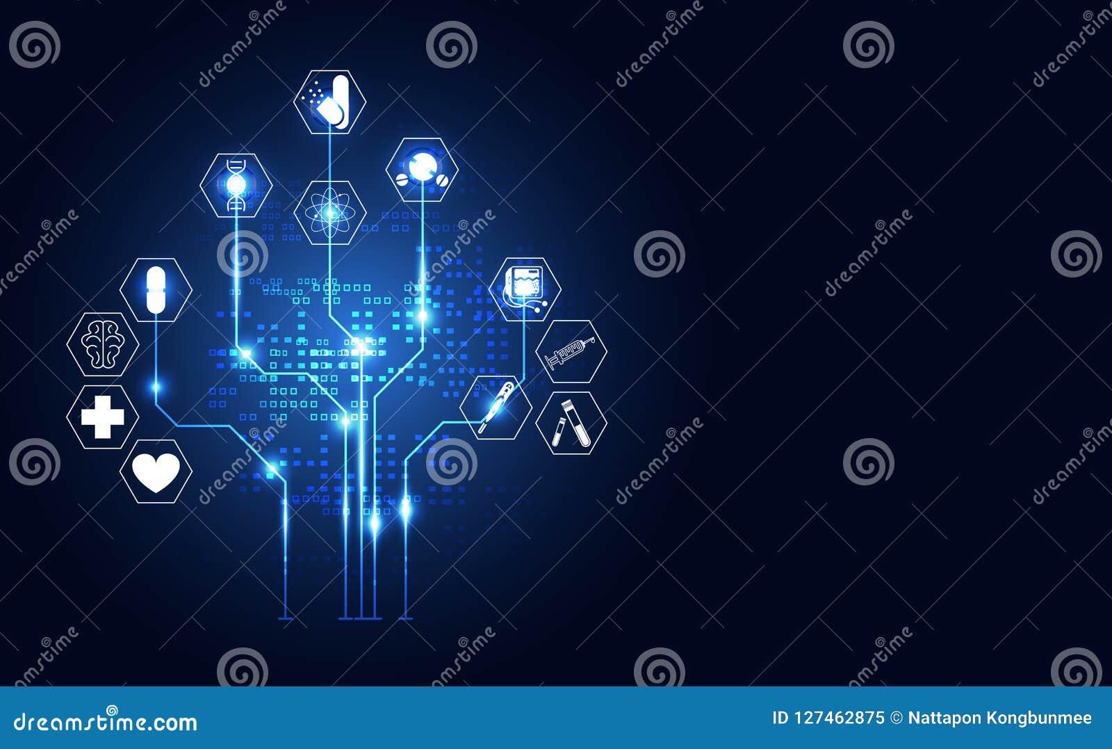 Abstrakcjonistycznych technologii cyfrowych zdrowie pojęcia medyczna ikona cyfrowa