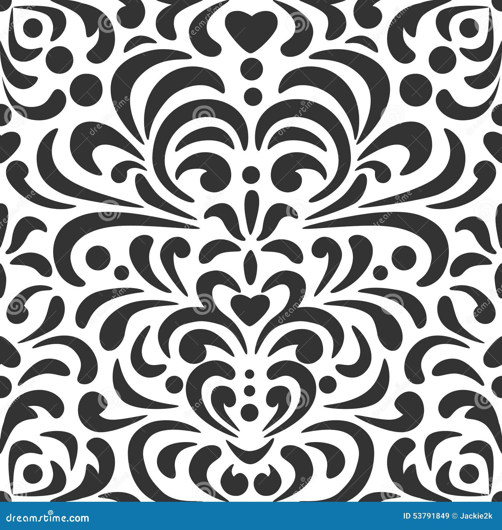 Abstraktów kędziorów wzór w czarny i biały