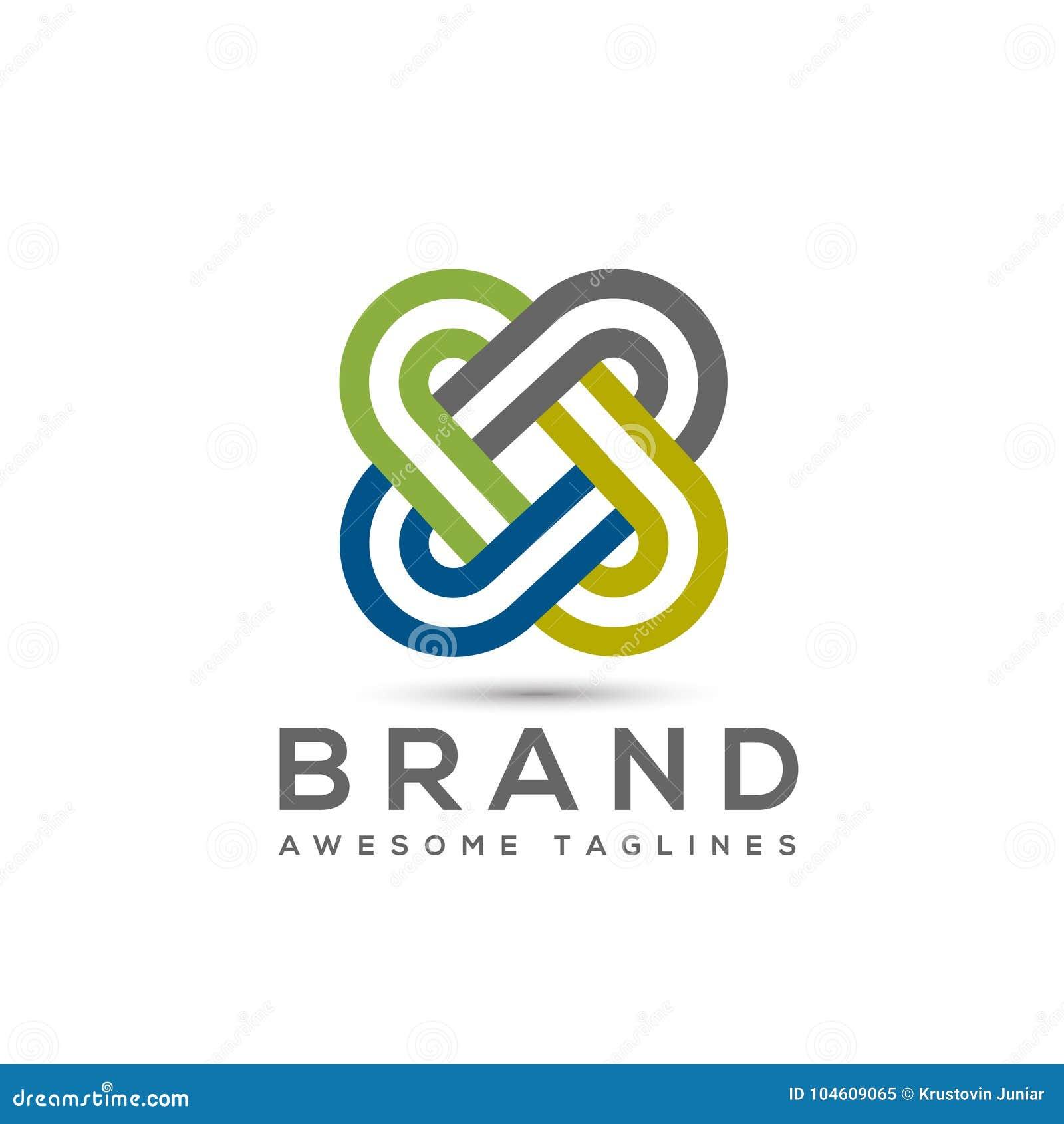 Abstrakt łączy kolor biznesowej firmy loga