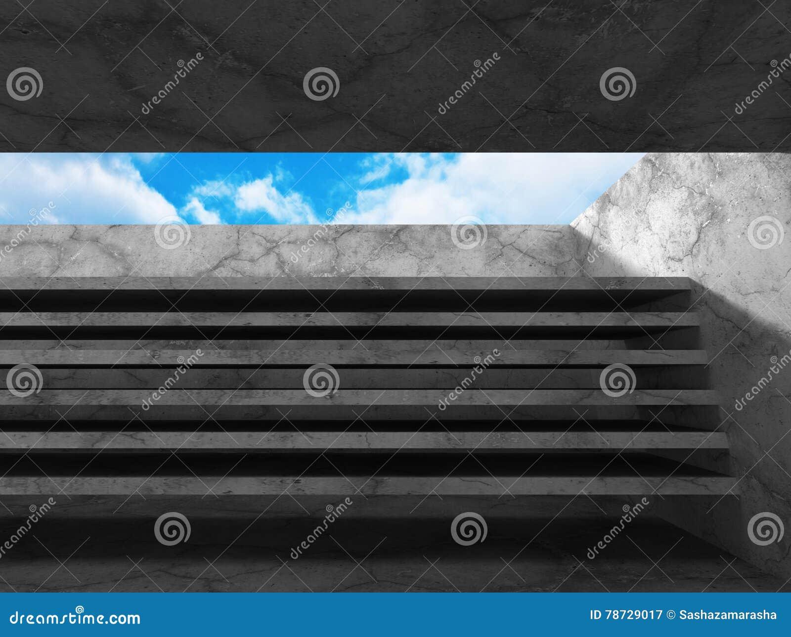 Abstrakt arkitekturbakgrund betongväggrum med himmel