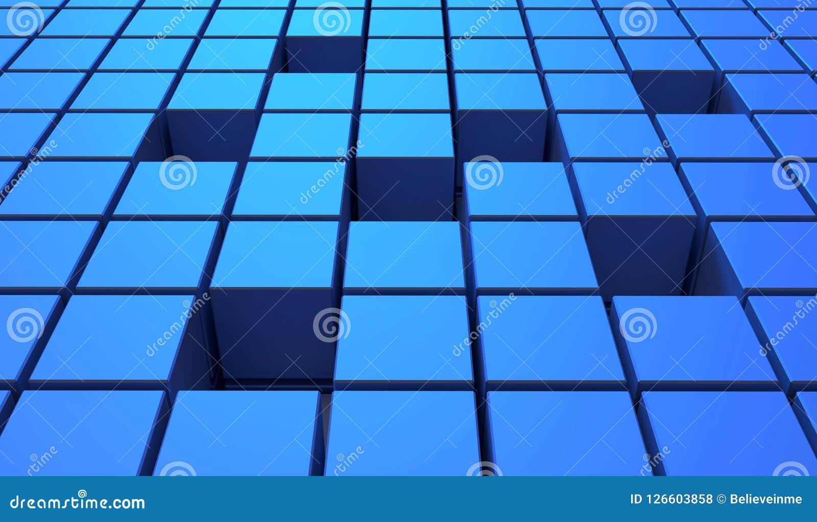 Abstrakt bakgrund av kuber i blåttfärg illustration 3d