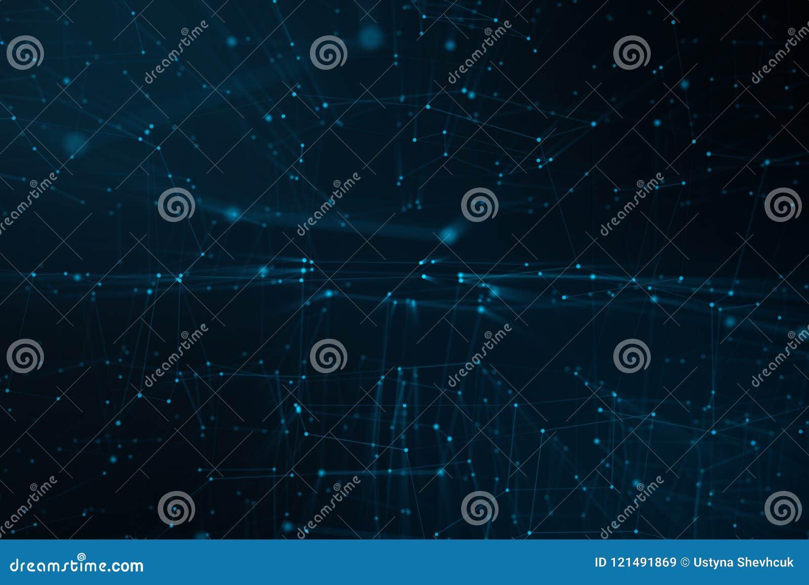 Abstrakt bakgrund av linjer och prickar, lågt poly ingrepp Internetuppkopplingteknologi Begrepp av nerv- anslutningar