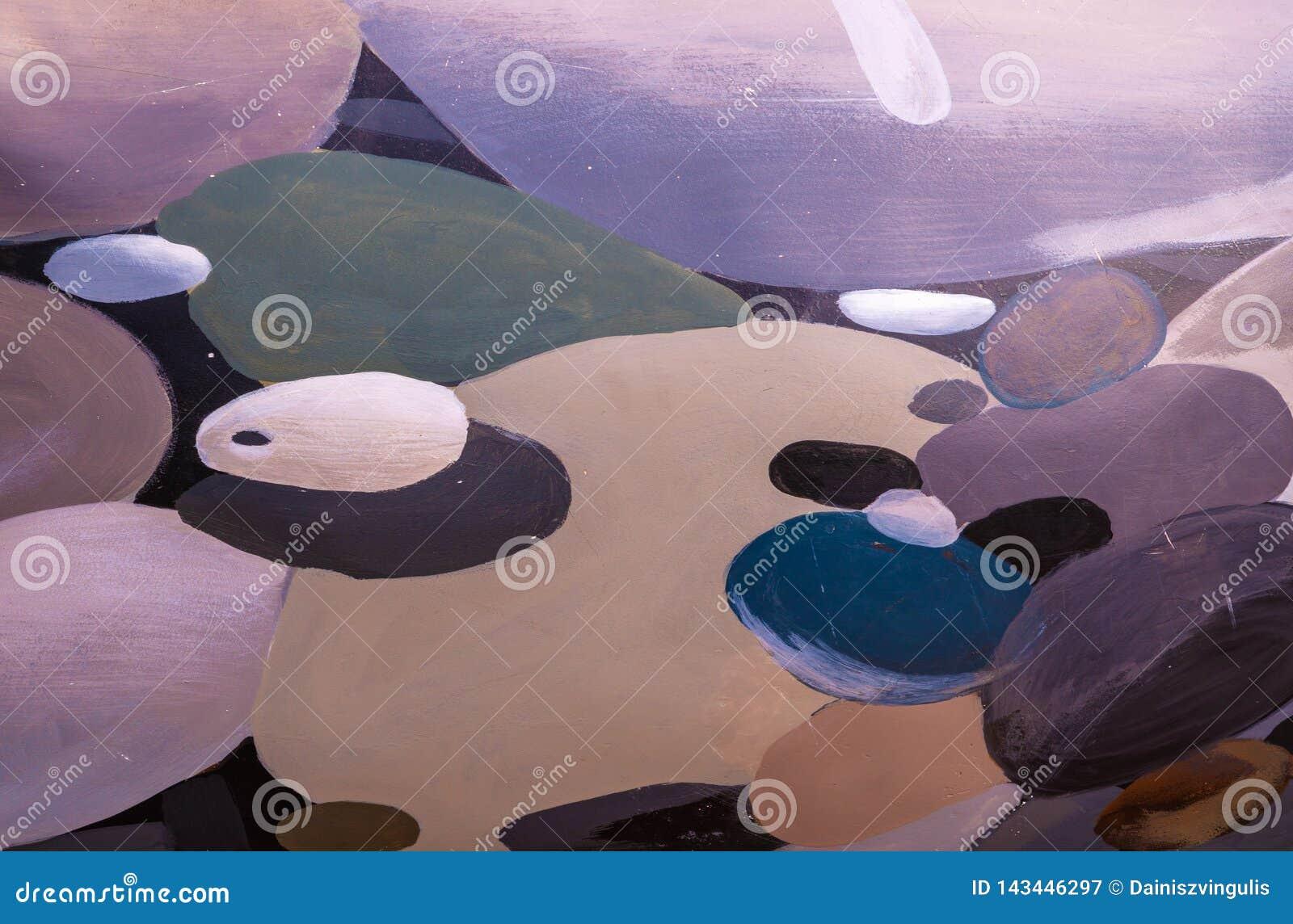 Abstrakt bakgrund av olika format- och färgcirklar